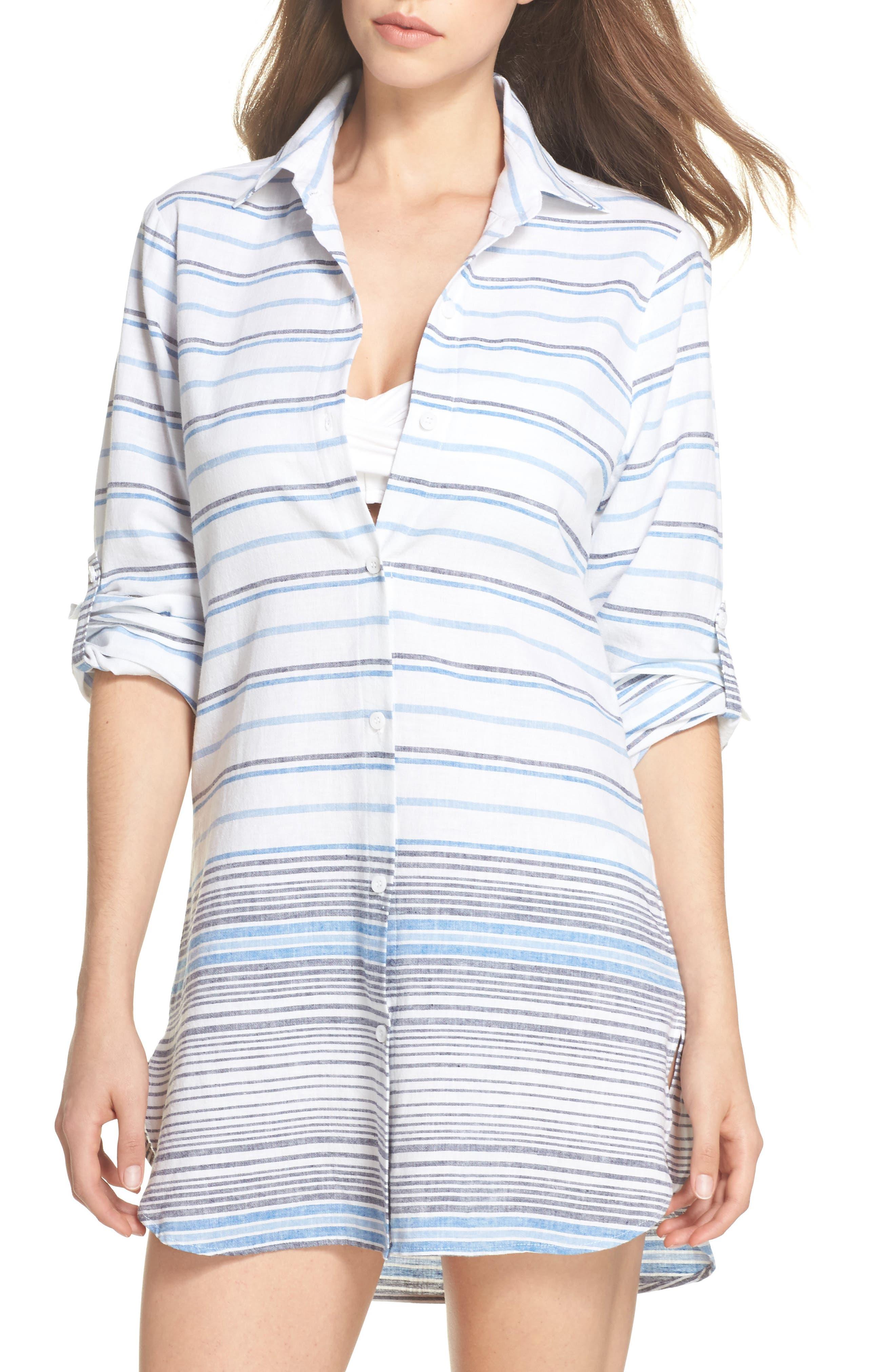 Stripe Linen & Cotton Cover-Up Tunic,                             Main thumbnail 1, color,                             White
