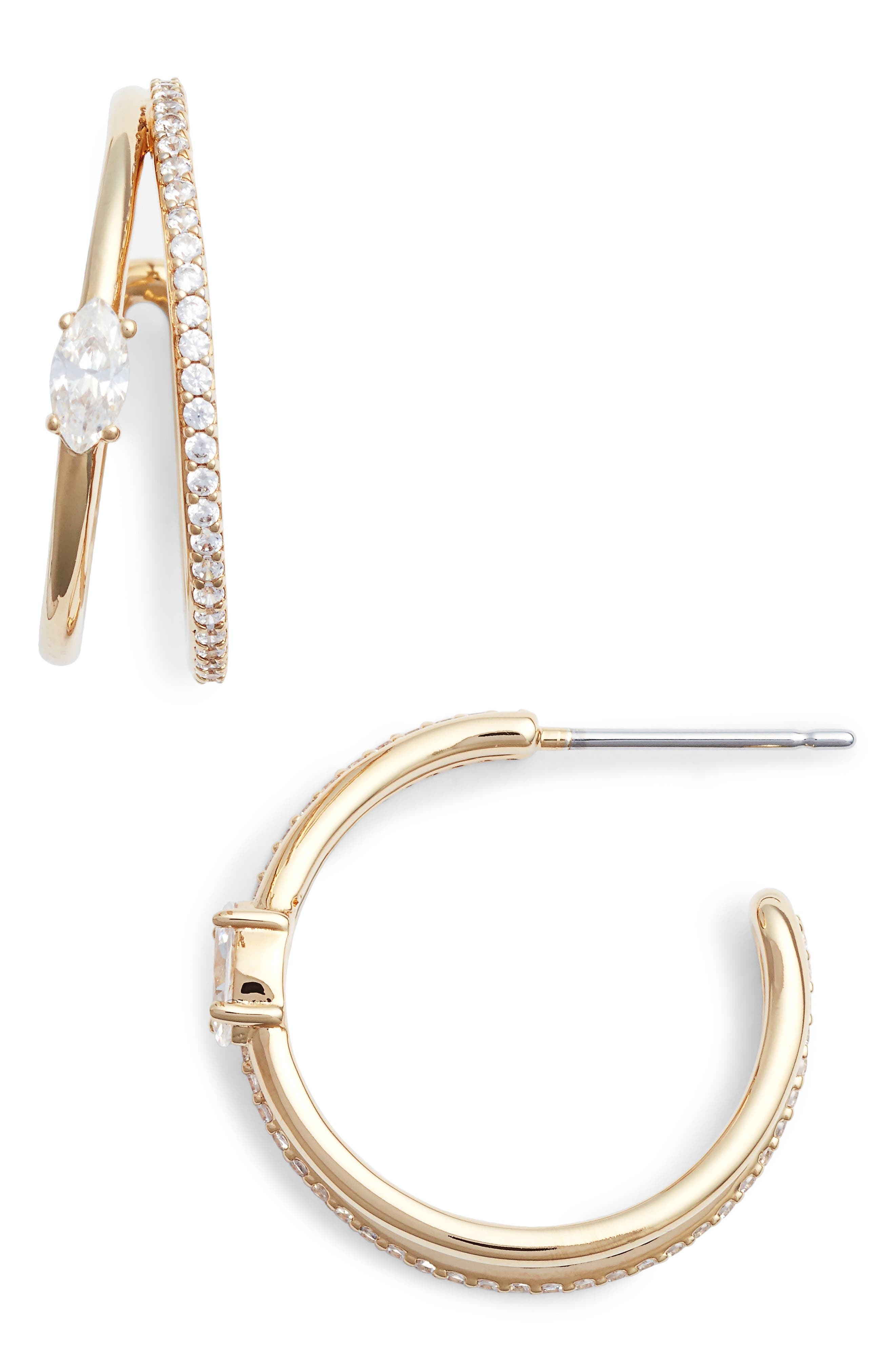 Cubic Zirconia Hoops,                             Main thumbnail 1, color,                             Gold/ Clear