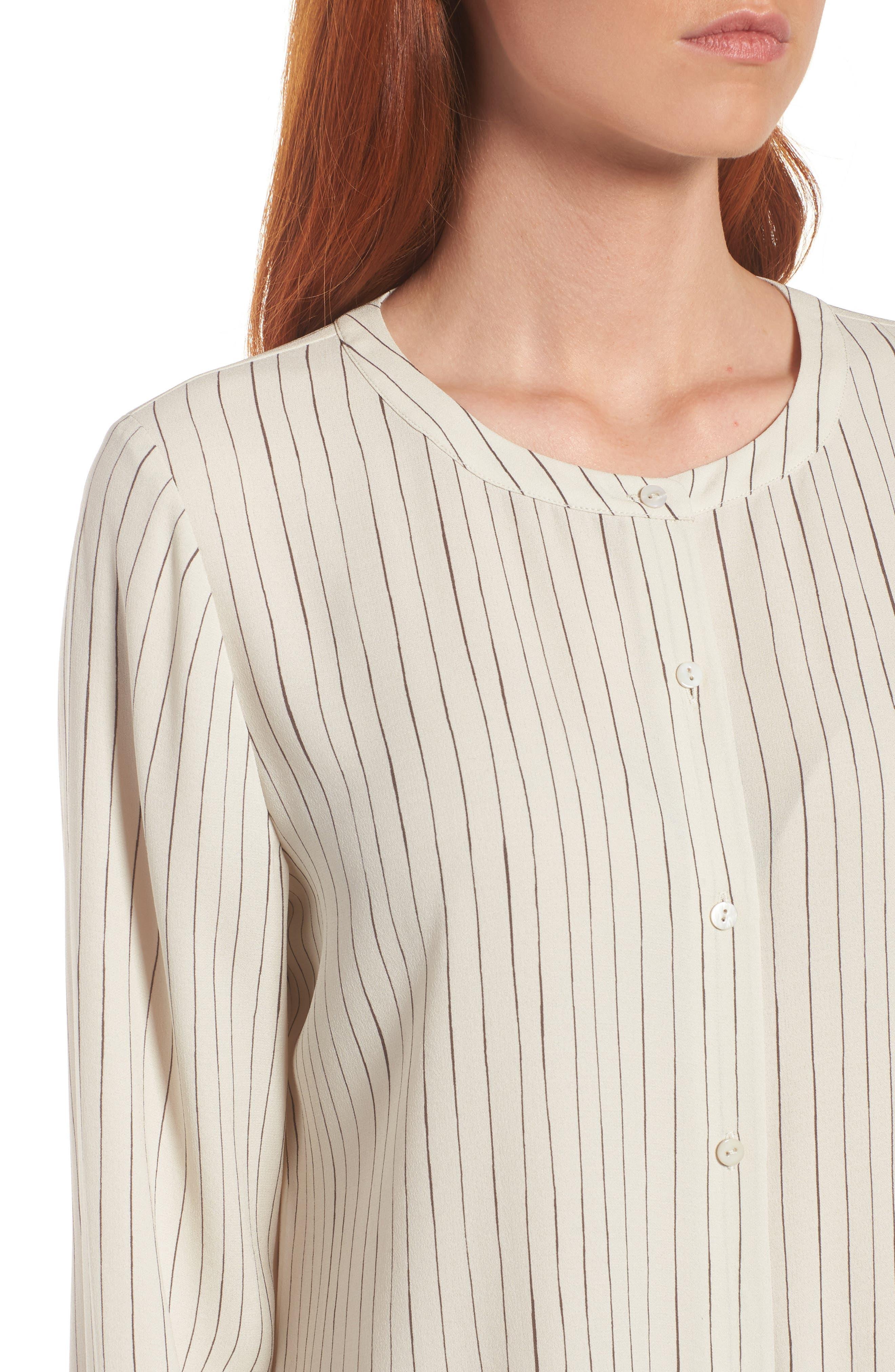 Stripe Silk Georgette Crepe Long Shirt,                             Alternate thumbnail 4, color,                             Bone