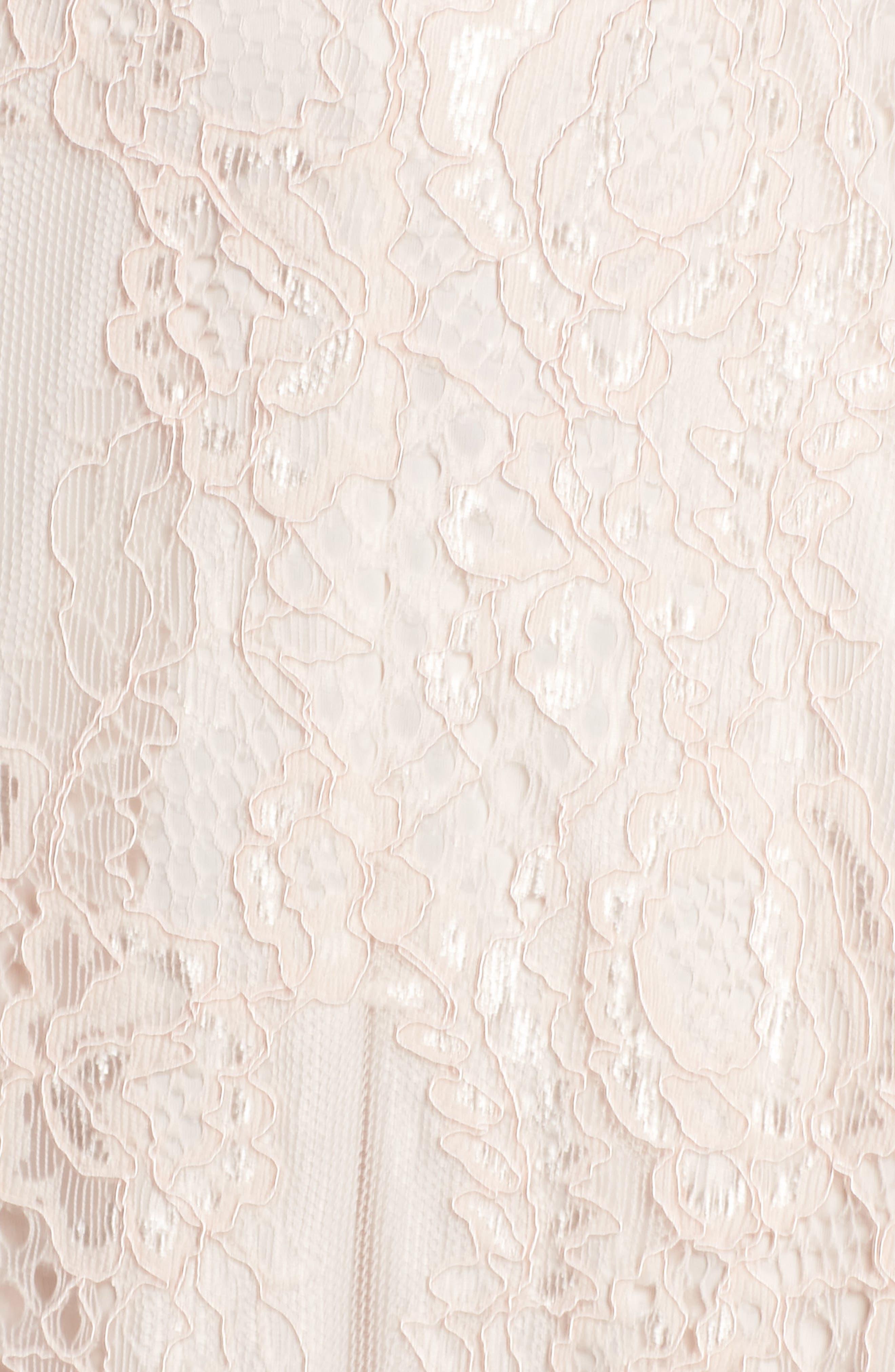 Rose Lace Fit & Flare Dress,                             Alternate thumbnail 5, color,                             Blush/ Almond