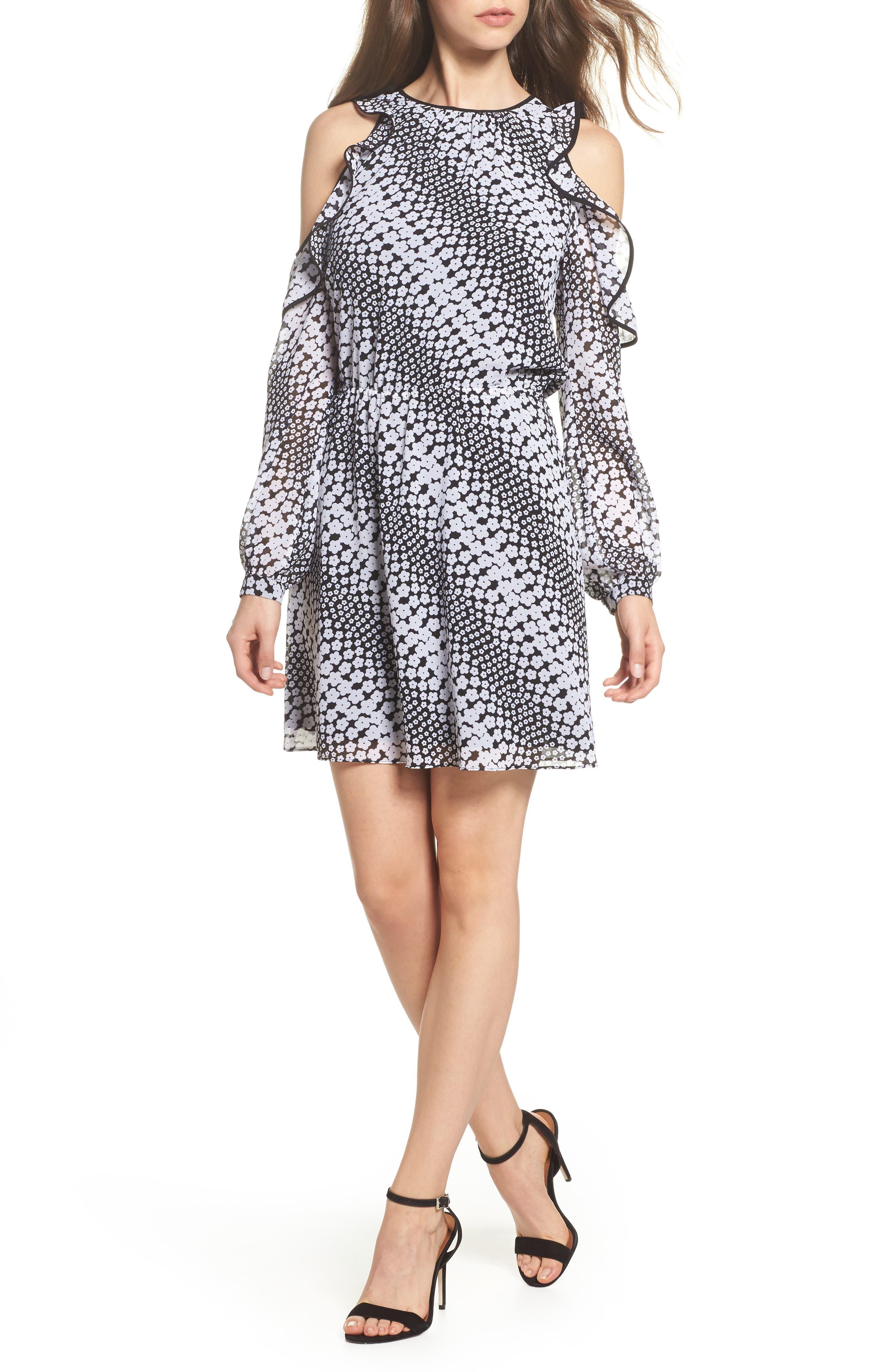 Cold Shoulder Blouson Dress,                             Main thumbnail 1, color,                             Black/ White