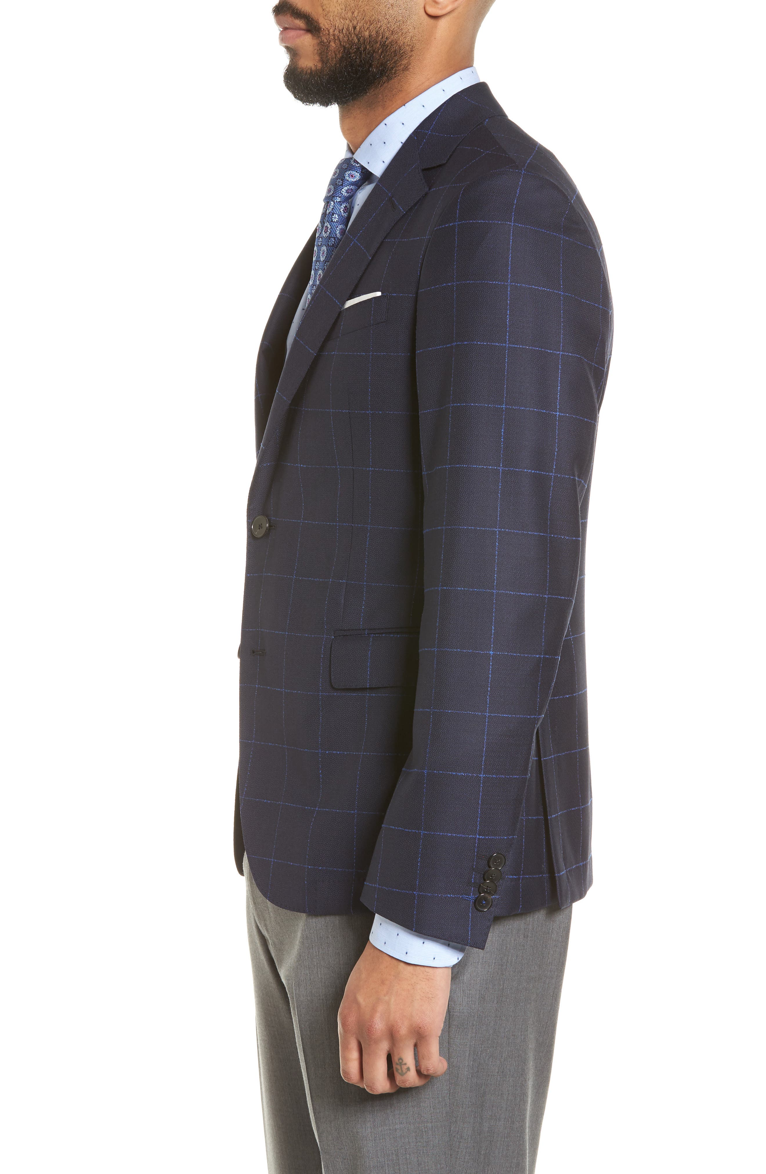 Nordstrom x BOSS Nobis Trim Fit Check Wool Sport Coat,                             Alternate thumbnail 3, color,                             Navy