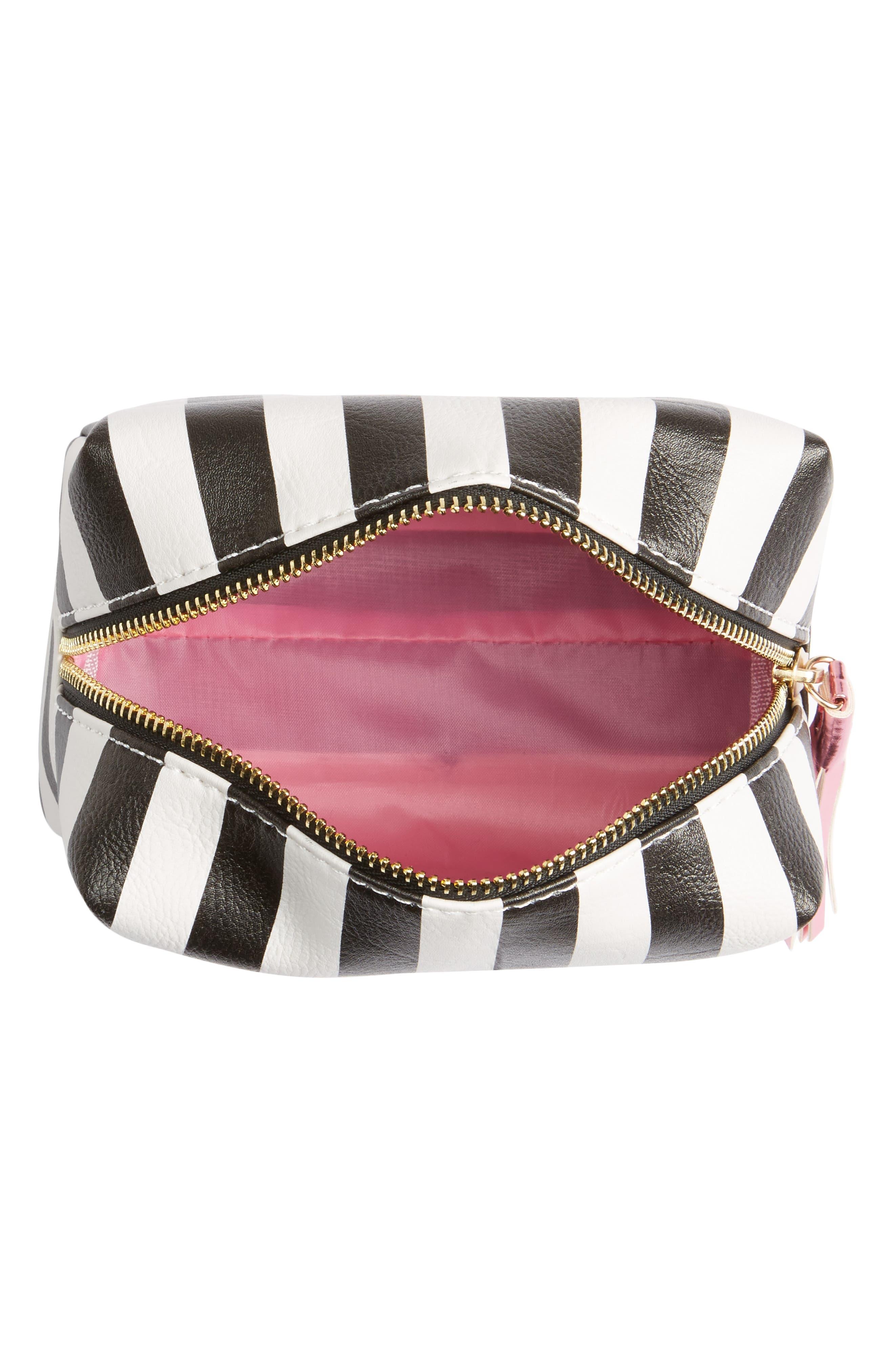 Metallic Lip Stripe Cosmetics Bag,                             Alternate thumbnail 3, color,                             Black/ White