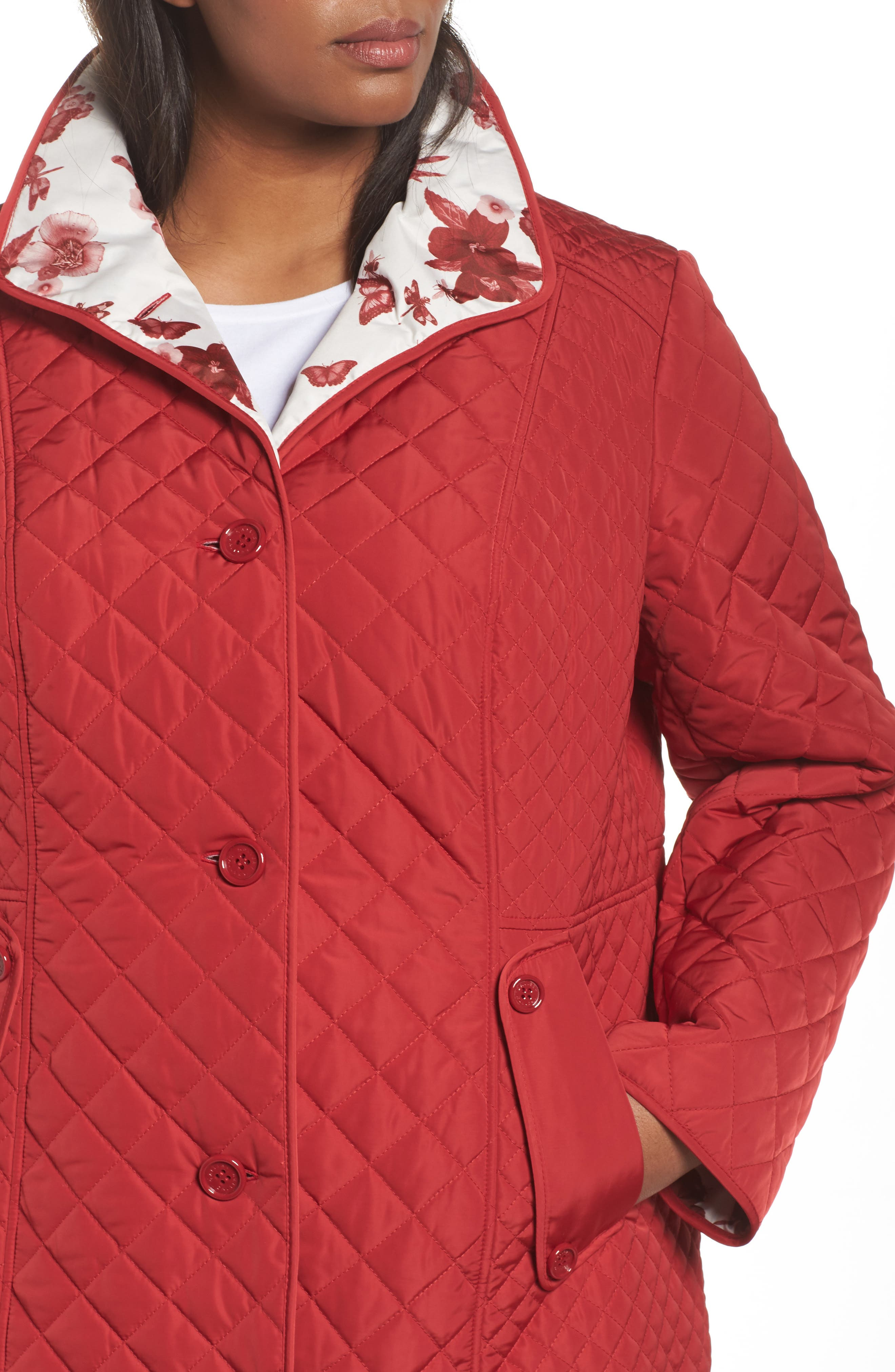 Print Collar Quilted Jacket,                             Alternate thumbnail 4, color,                             Tomato Red