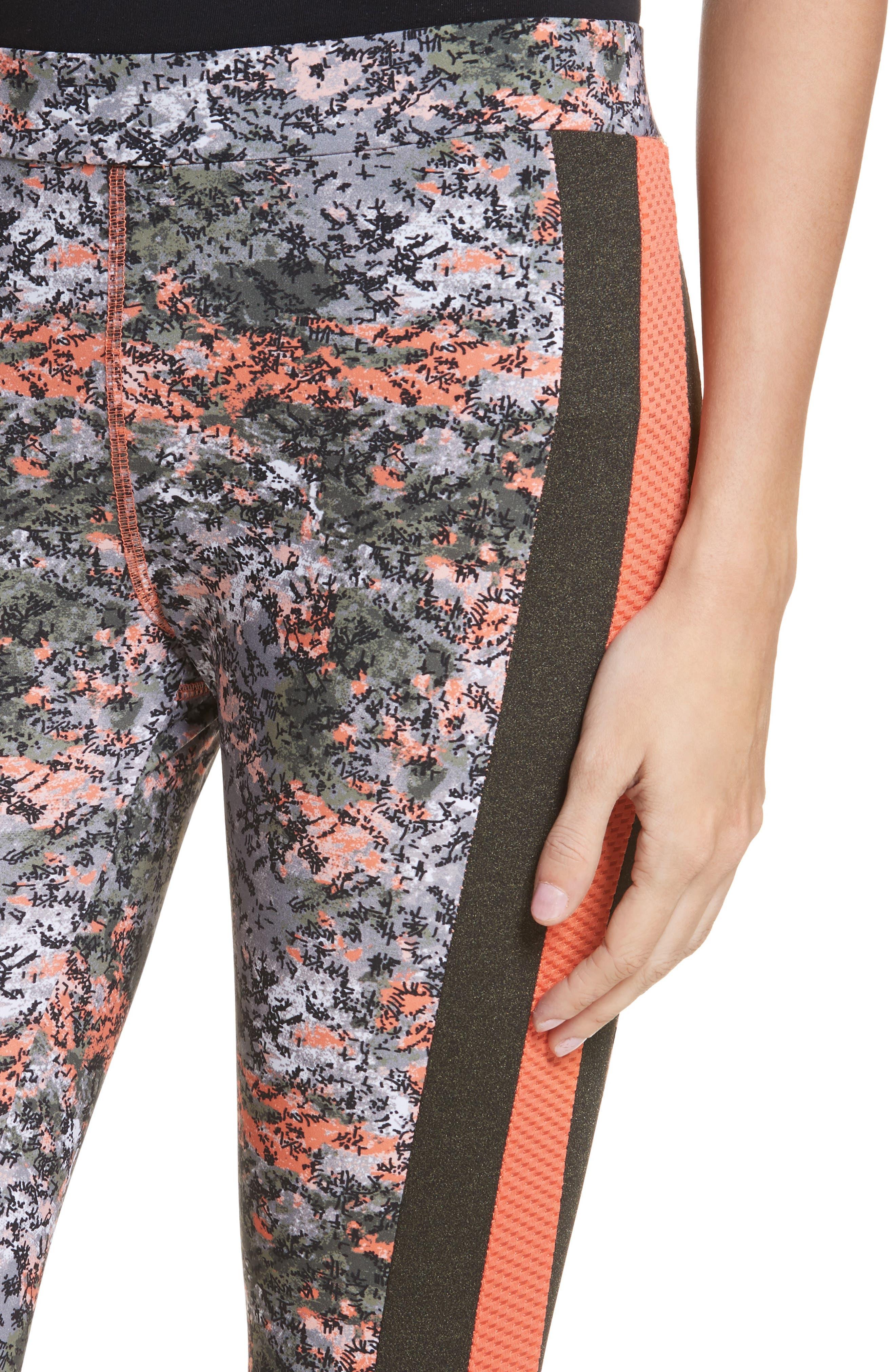 Print Crop Leggings,                             Alternate thumbnail 4, color,                             Green Print