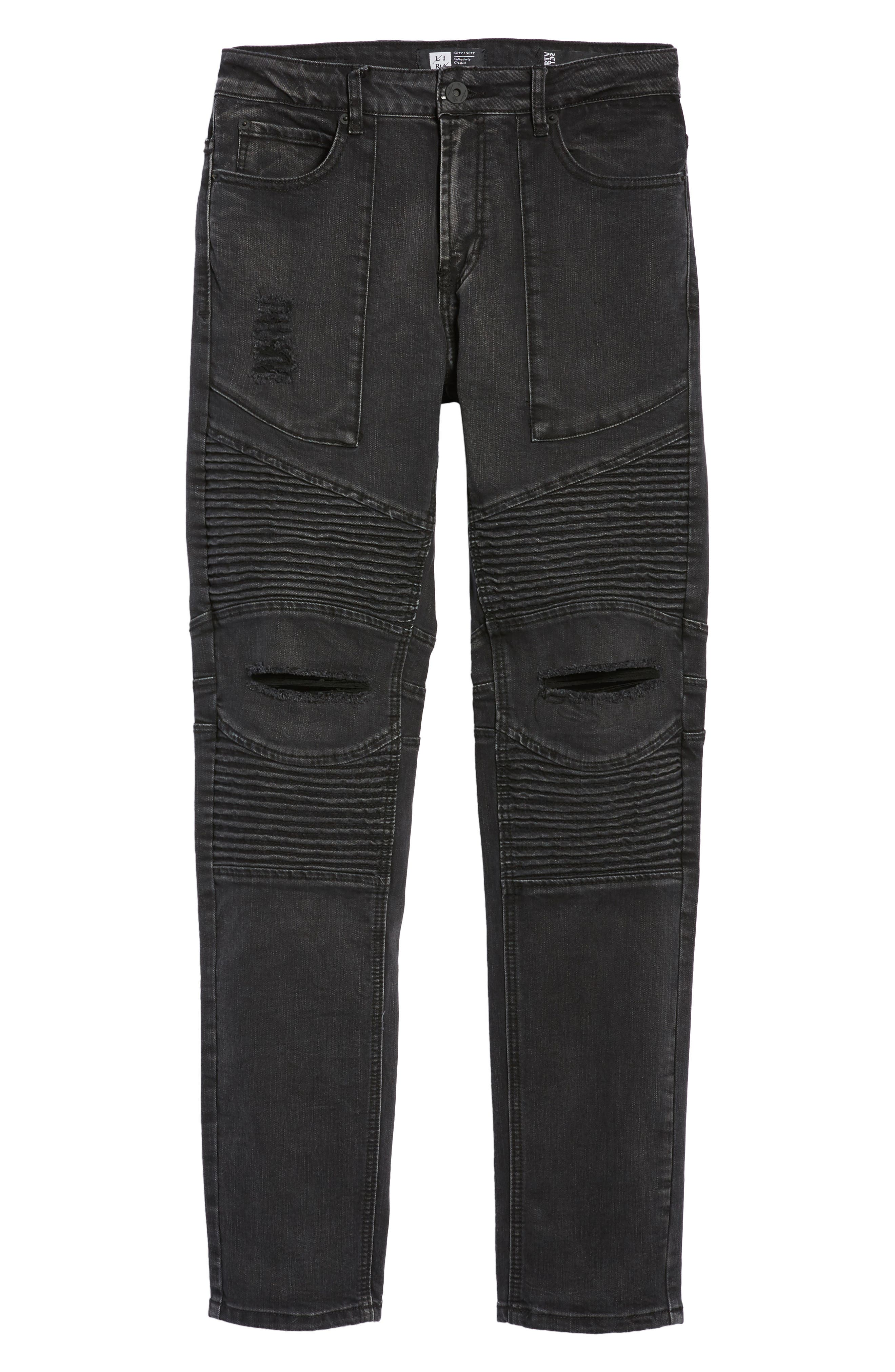 Baxter Ripped Jeans,                             Alternate thumbnail 6, color,                             Faded Black