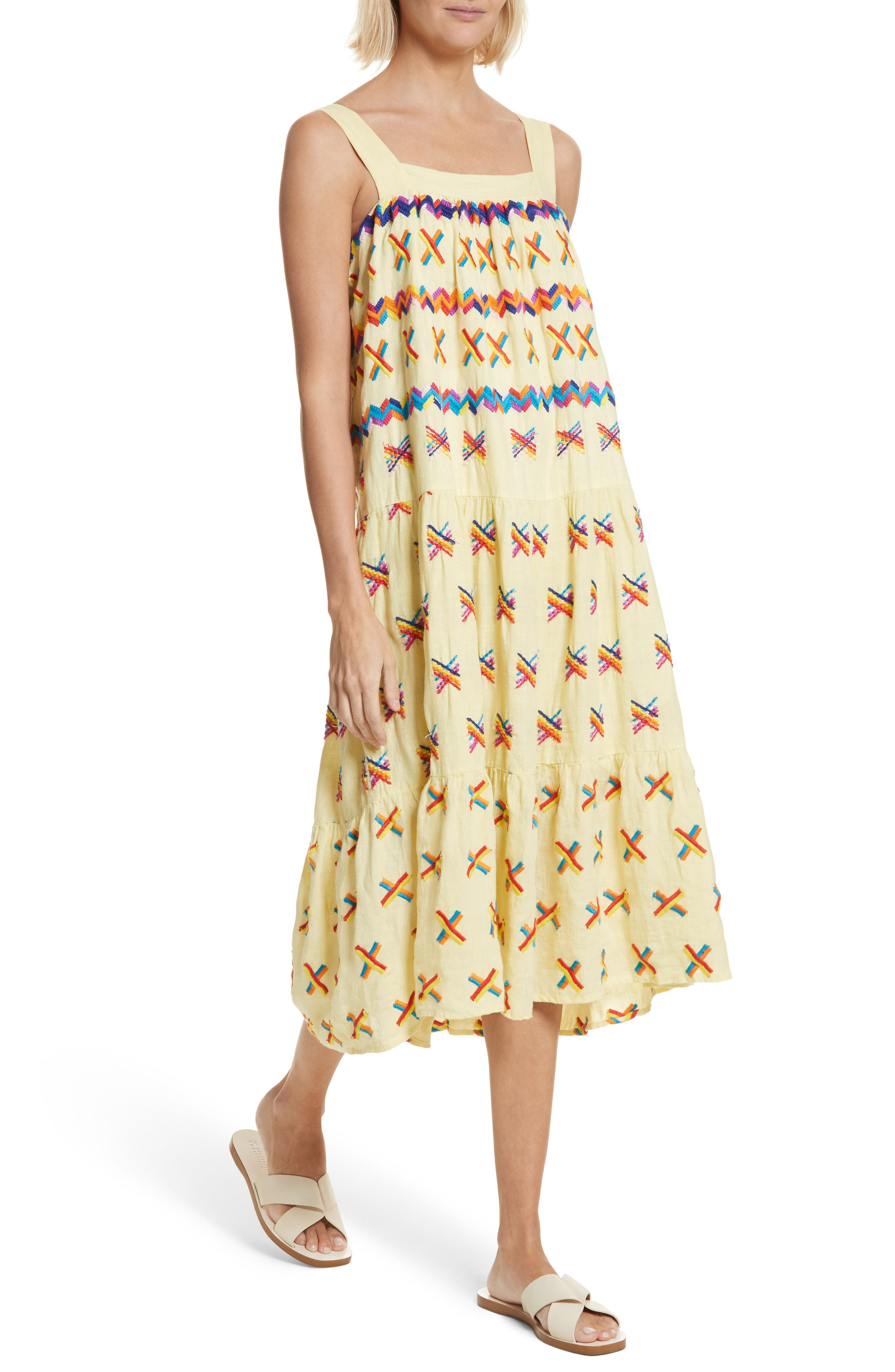Remi Embroidered Midi Dress,                             Alternate thumbnail 4, color,                             Baby Yellow