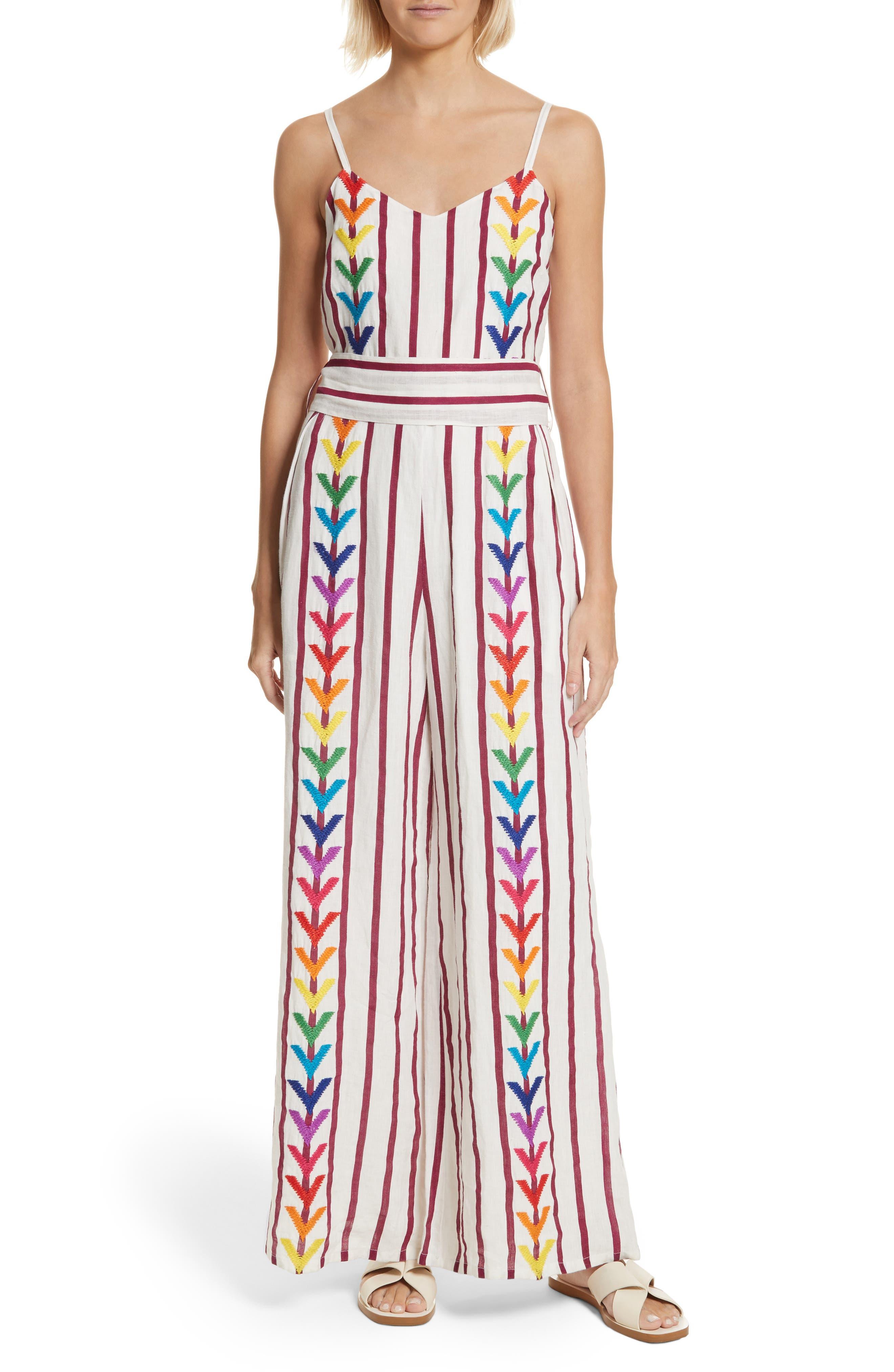 Lisa Stripe Jumpsuit,                             Main thumbnail 1, color,                             Off White/ Burgundy