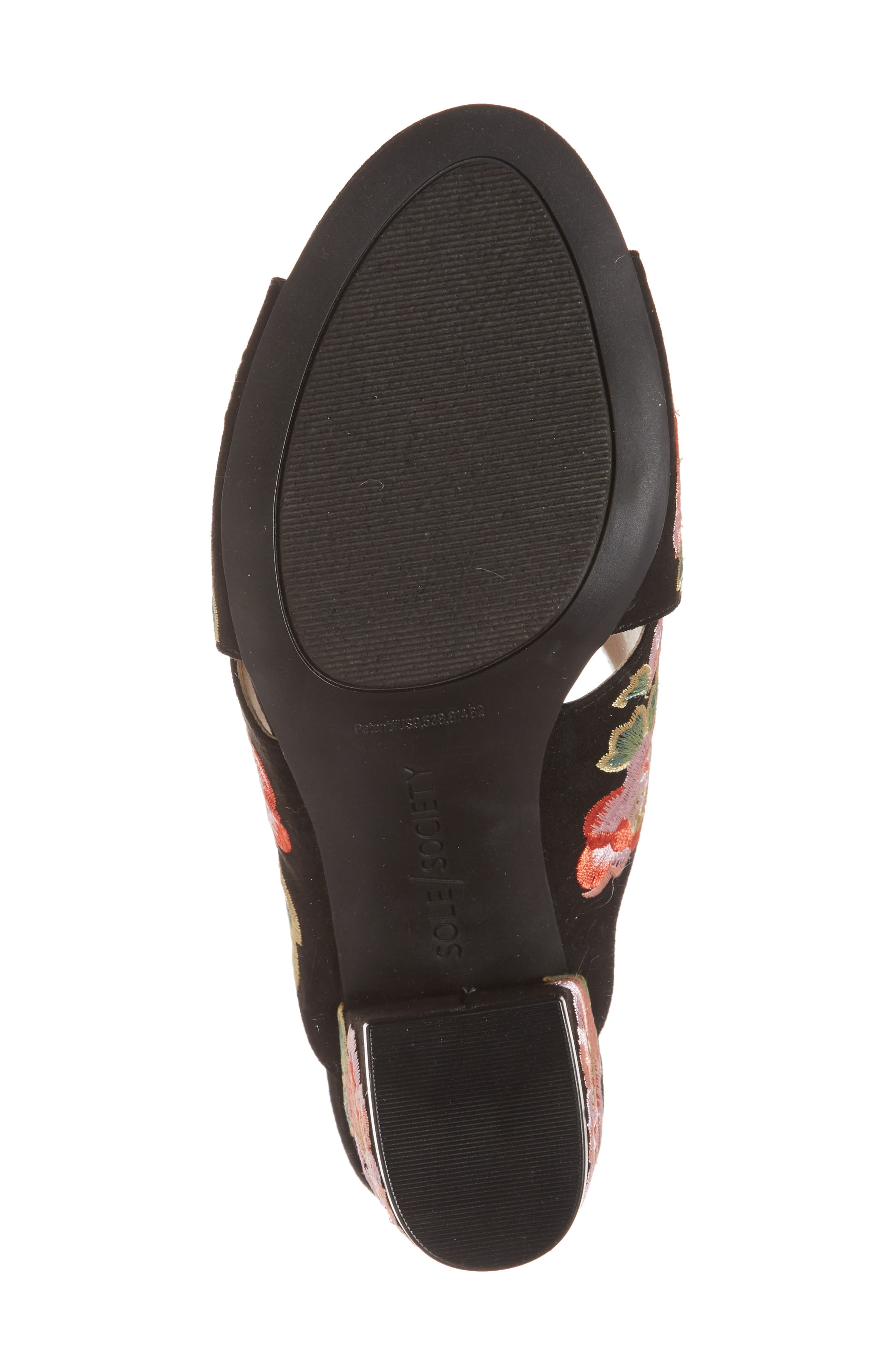 Luella Flower Embroidered Slide,                             Alternate thumbnail 6, color,                             Black/ Coral Multi Embroidery