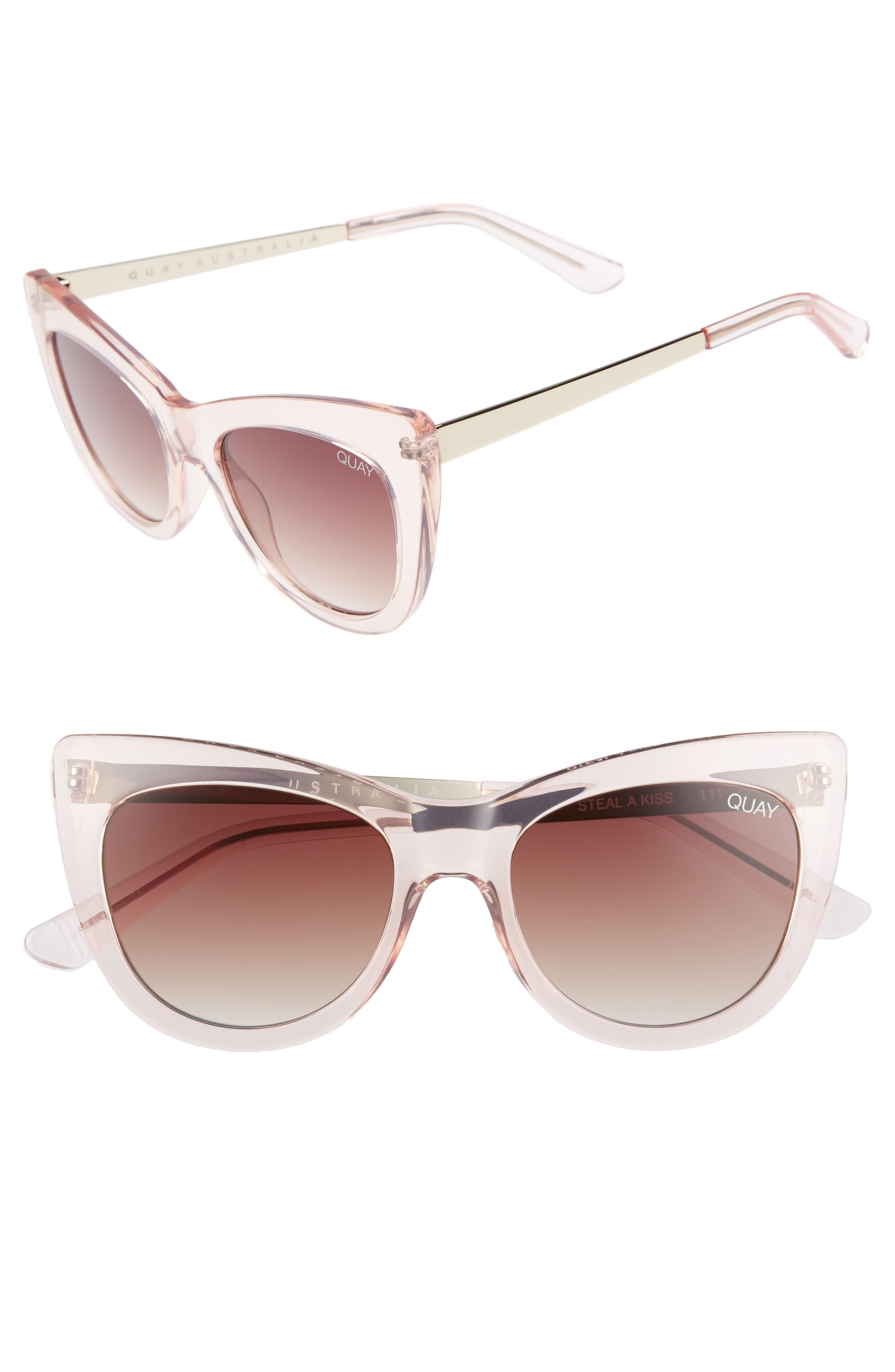 53mm Steal a Kiss Cat-eye Sunglasses,                         Main,                         color, Pink/ Brown