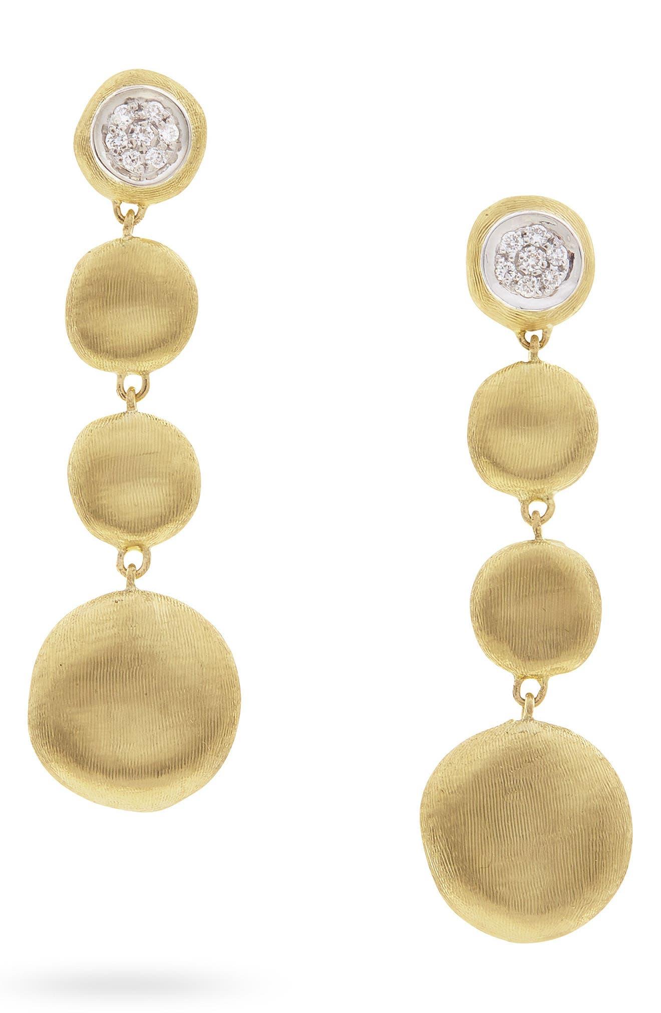 Jaipur Diamond Linear Drop Earrings,                             Main thumbnail 1, color,                             Yellow Gold