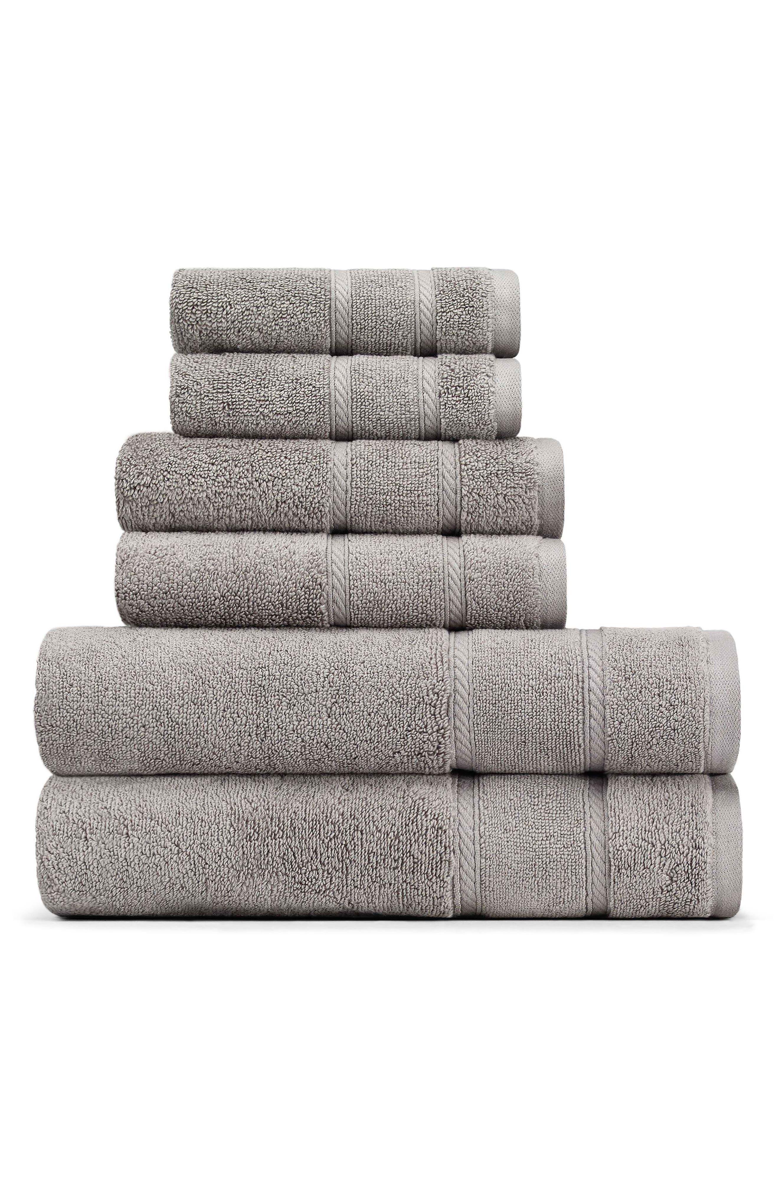 Belle Haven Bath Towel, Hand Towel & Washcloth Set,                         Main,                         color, Grey