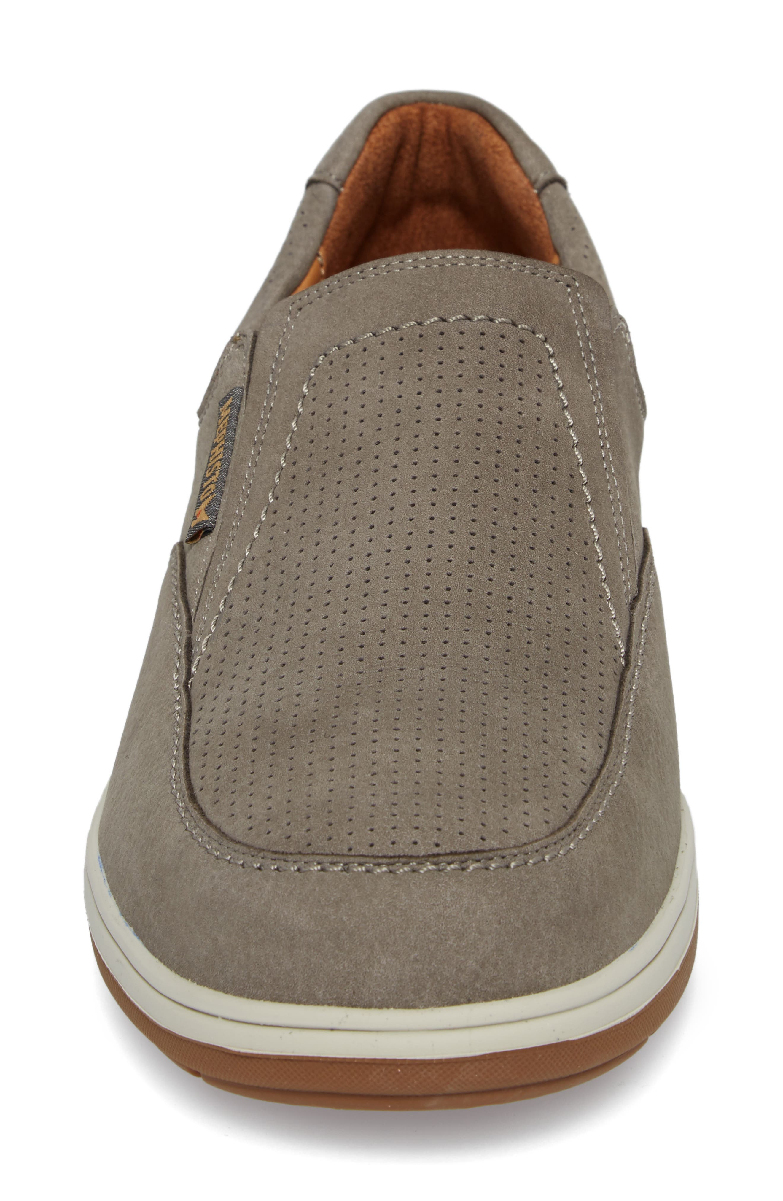 Davy Perforated Slip-On Sneaker,                             Alternate thumbnail 4, color,                             Grey