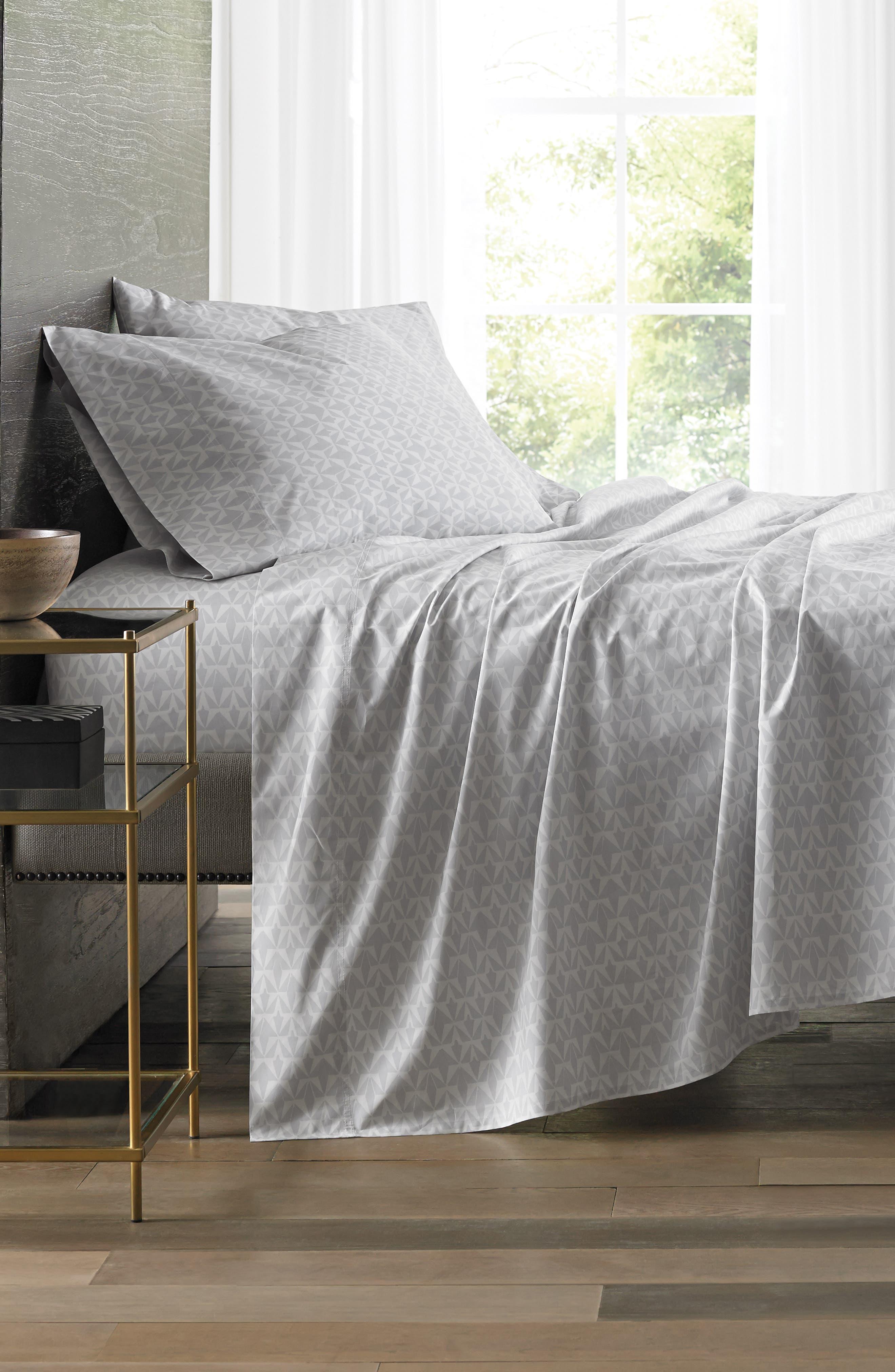 Grasslands 300 Thread Count Pair of Pillowcases,                             Alternate thumbnail 4, color,                             Nibus/ Light/ Pastel Grey