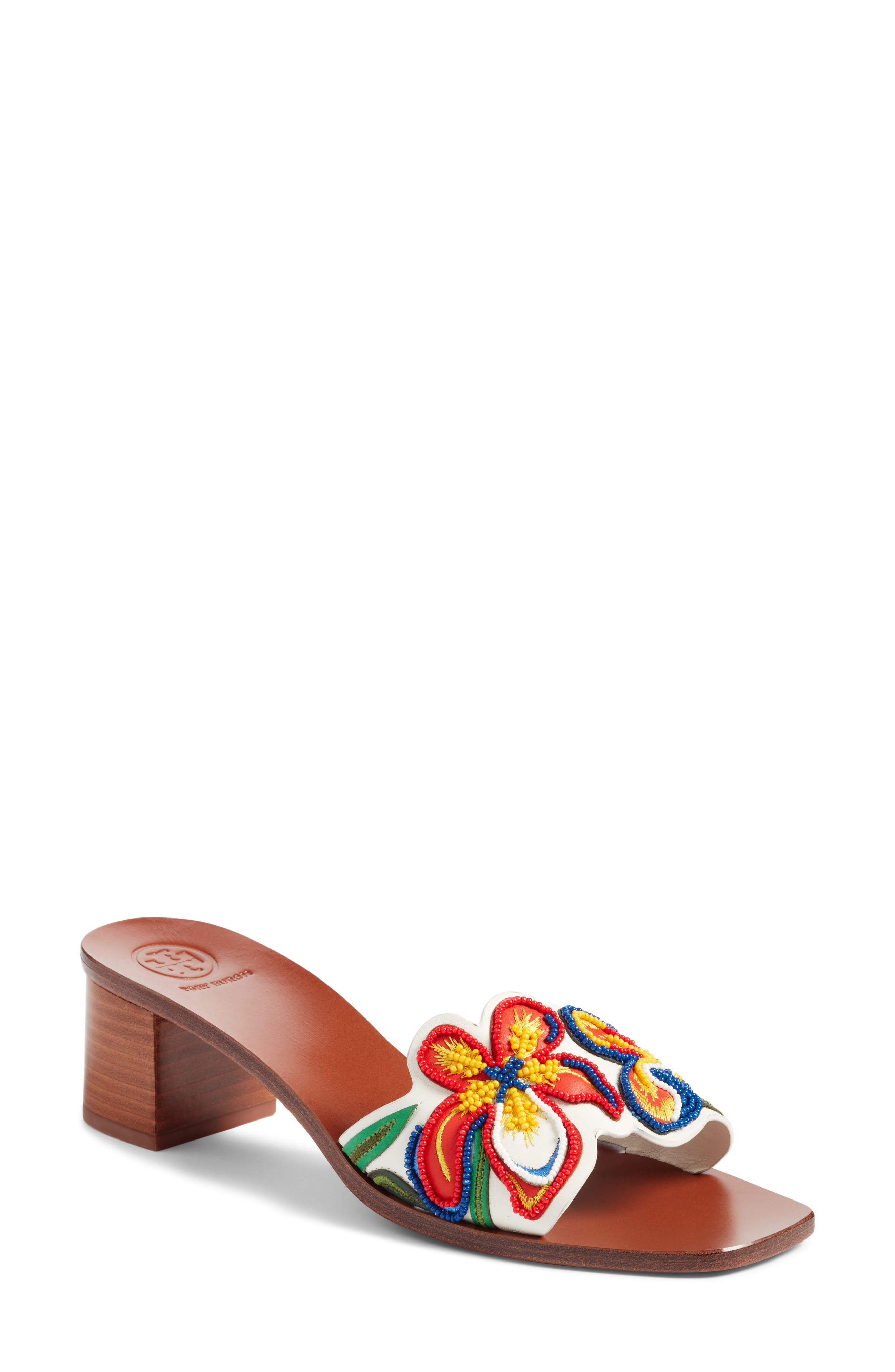 Bianca Floral Embellished Slide Sandal,                             Main thumbnail 1, color,                             Perfect Ivory/ Multi Color