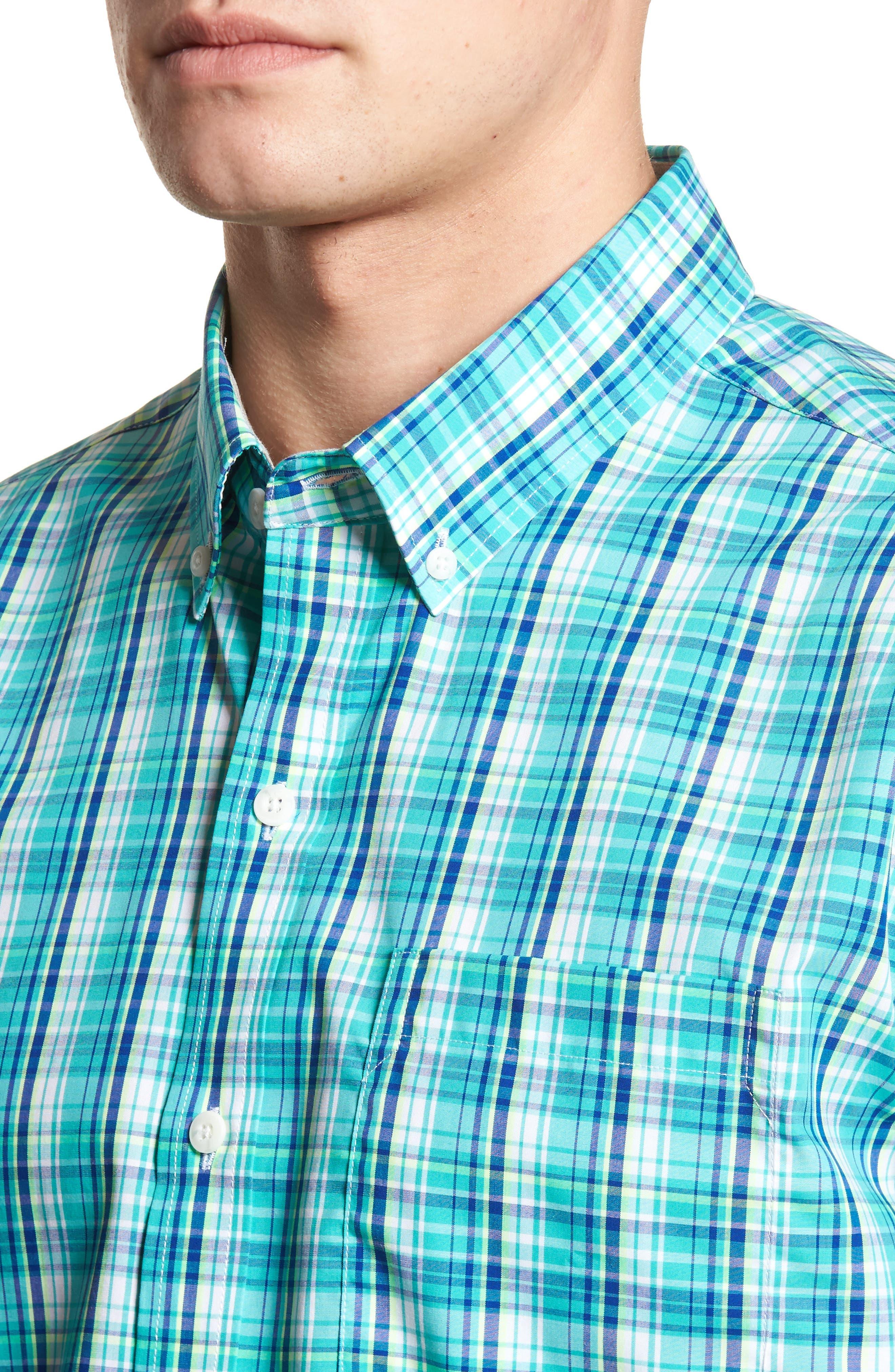 Tobias Classic Fit No-Iron Sport Shirt,                             Alternate thumbnail 4, color,                             Newport