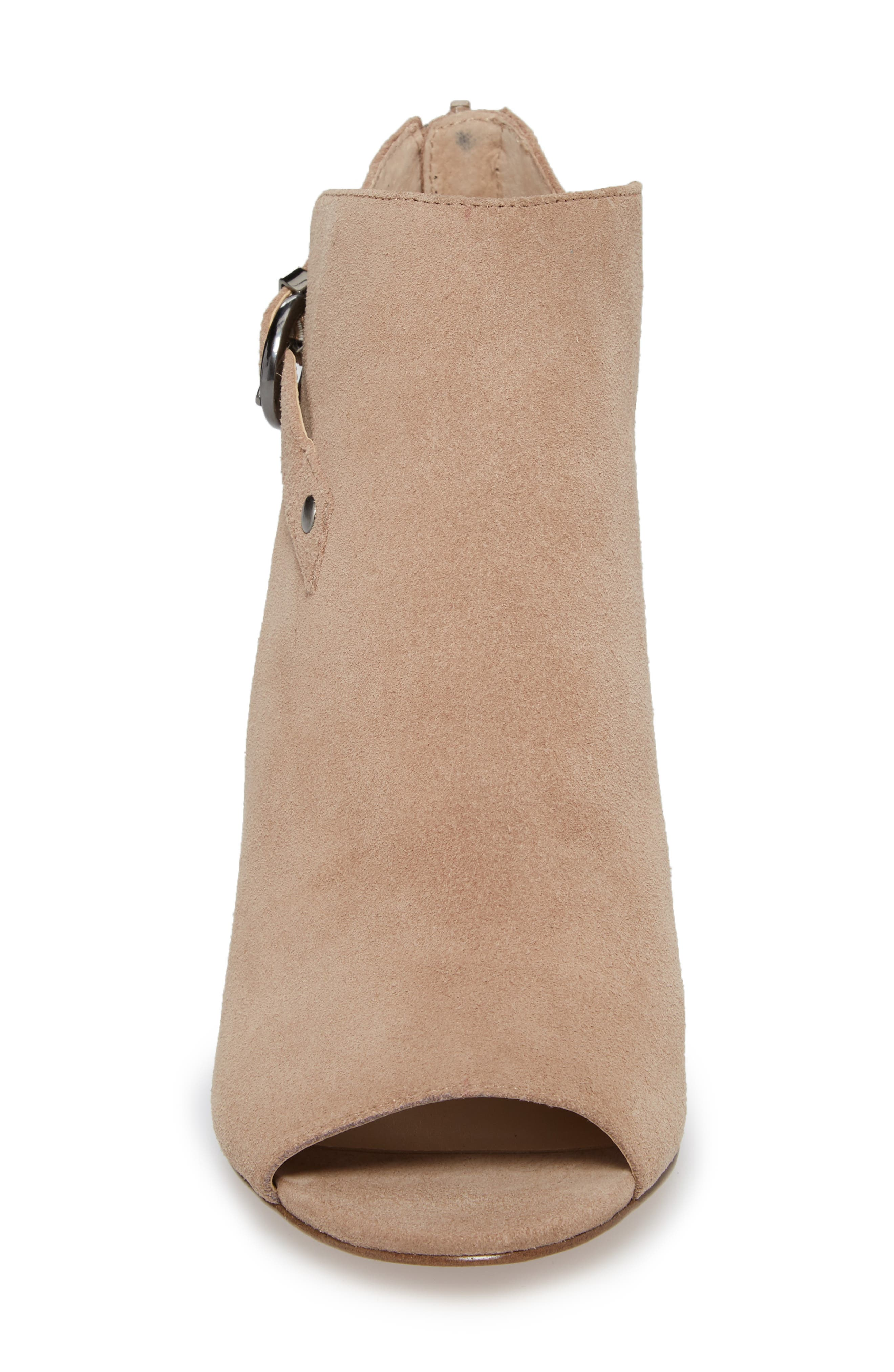 Sally Column Heel Sandal,                             Alternate thumbnail 4, color,                             Warm Taupe Cow Suede