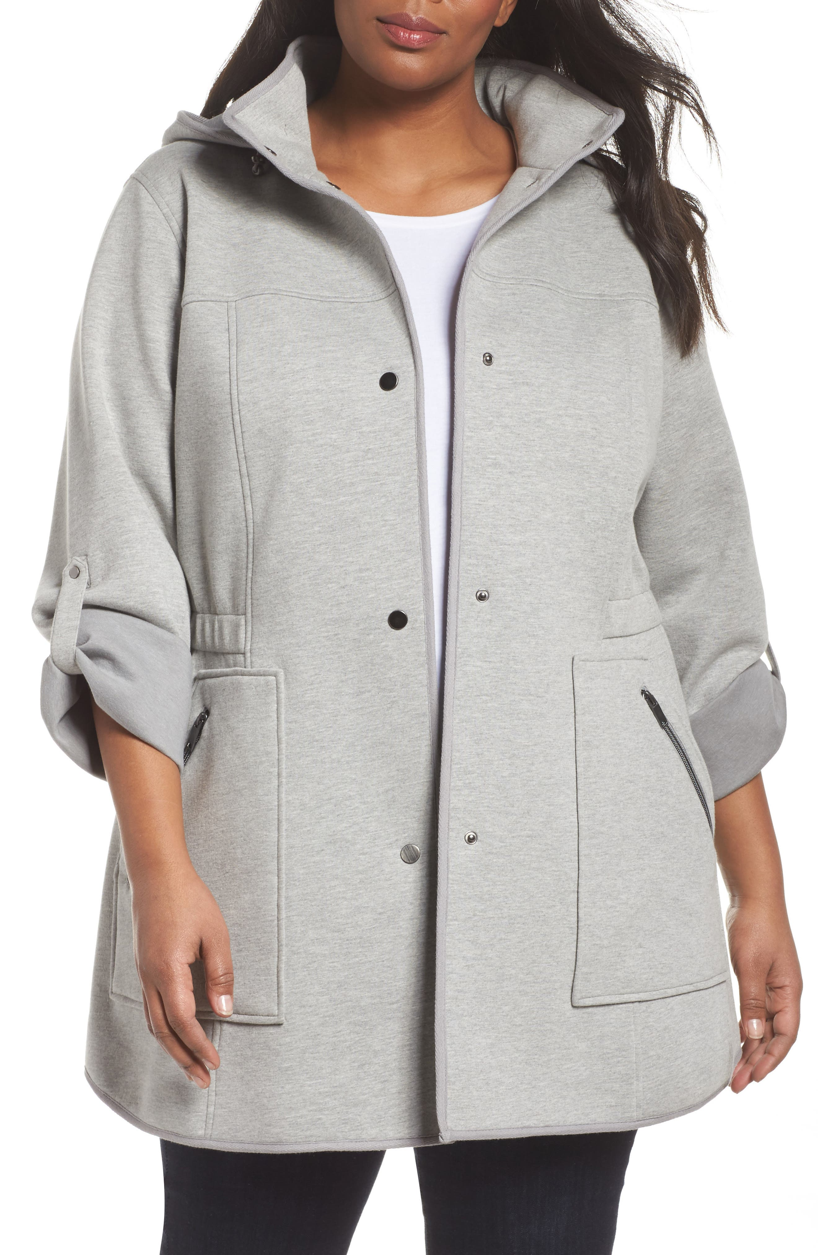 Hooded Knit Anorak,                         Main,                         color, Light Grey