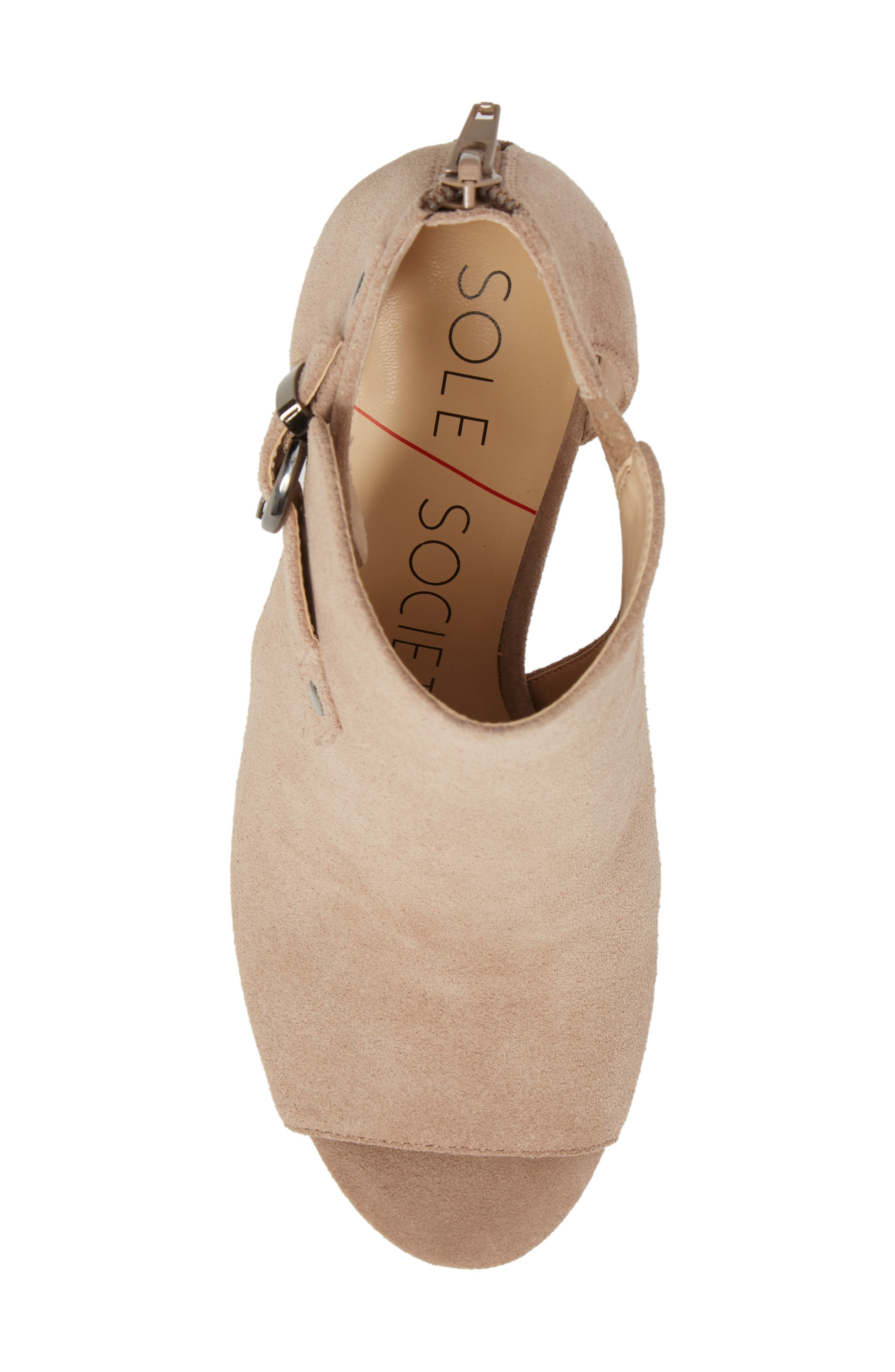 Sally Column Heel Sandal,                             Alternate thumbnail 5, color,                             Warm Taupe Cow Suede