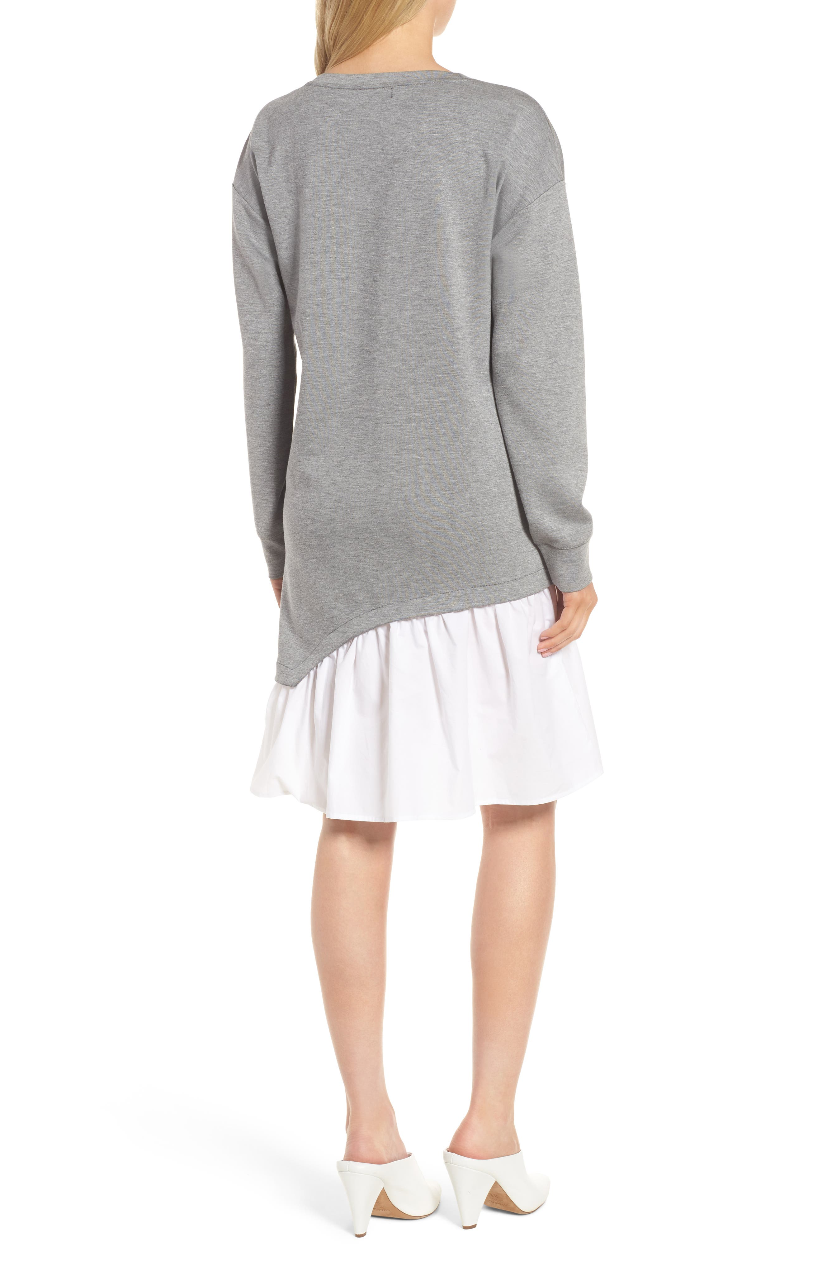Mixed Media Sweatshirt Dress,                             Alternate thumbnail 2, color,                             Grey Heather