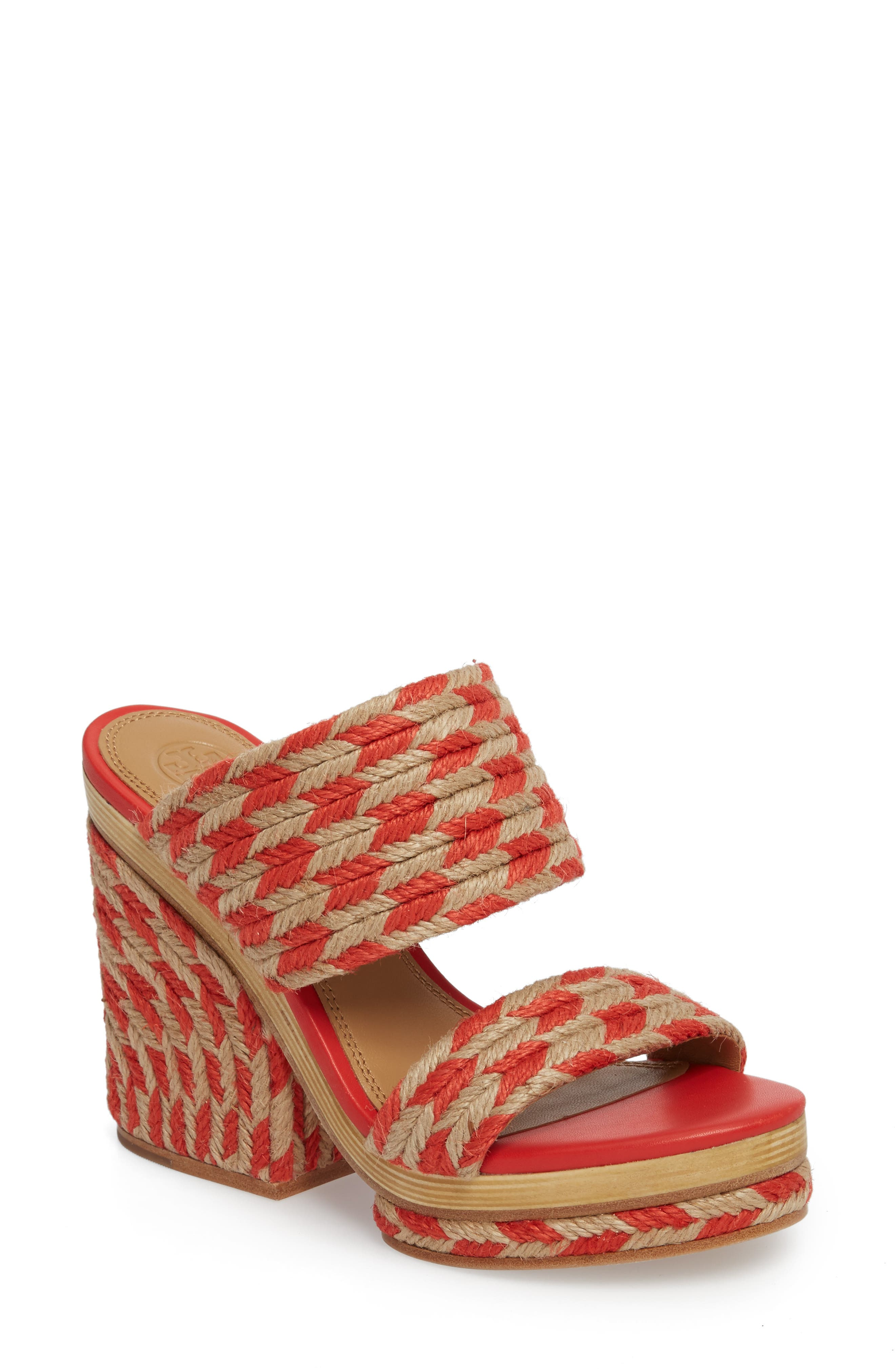 Lola Woven Platform Sandal,                             Main thumbnail 1, color,                             Poppy Orange/ Perfect Ivory