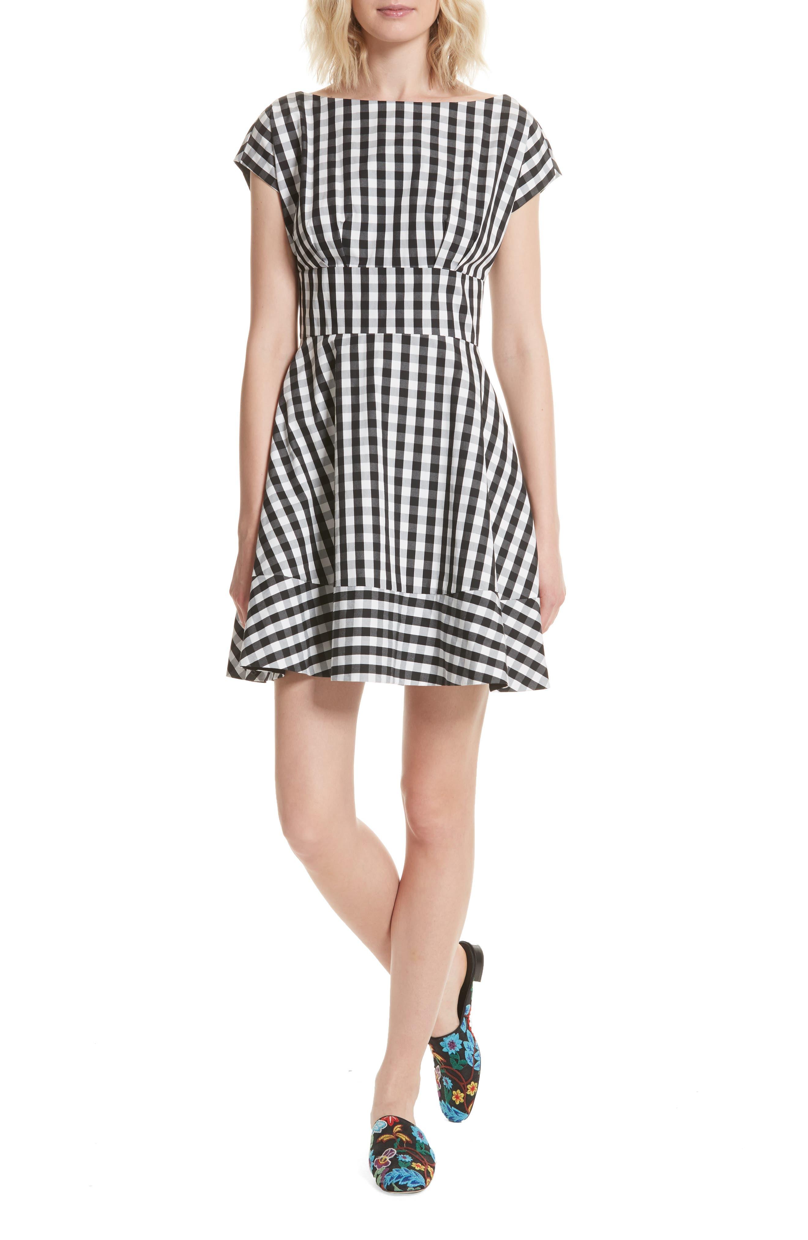 fiorella gingham fit & flare dress,                         Main,                         color, Black