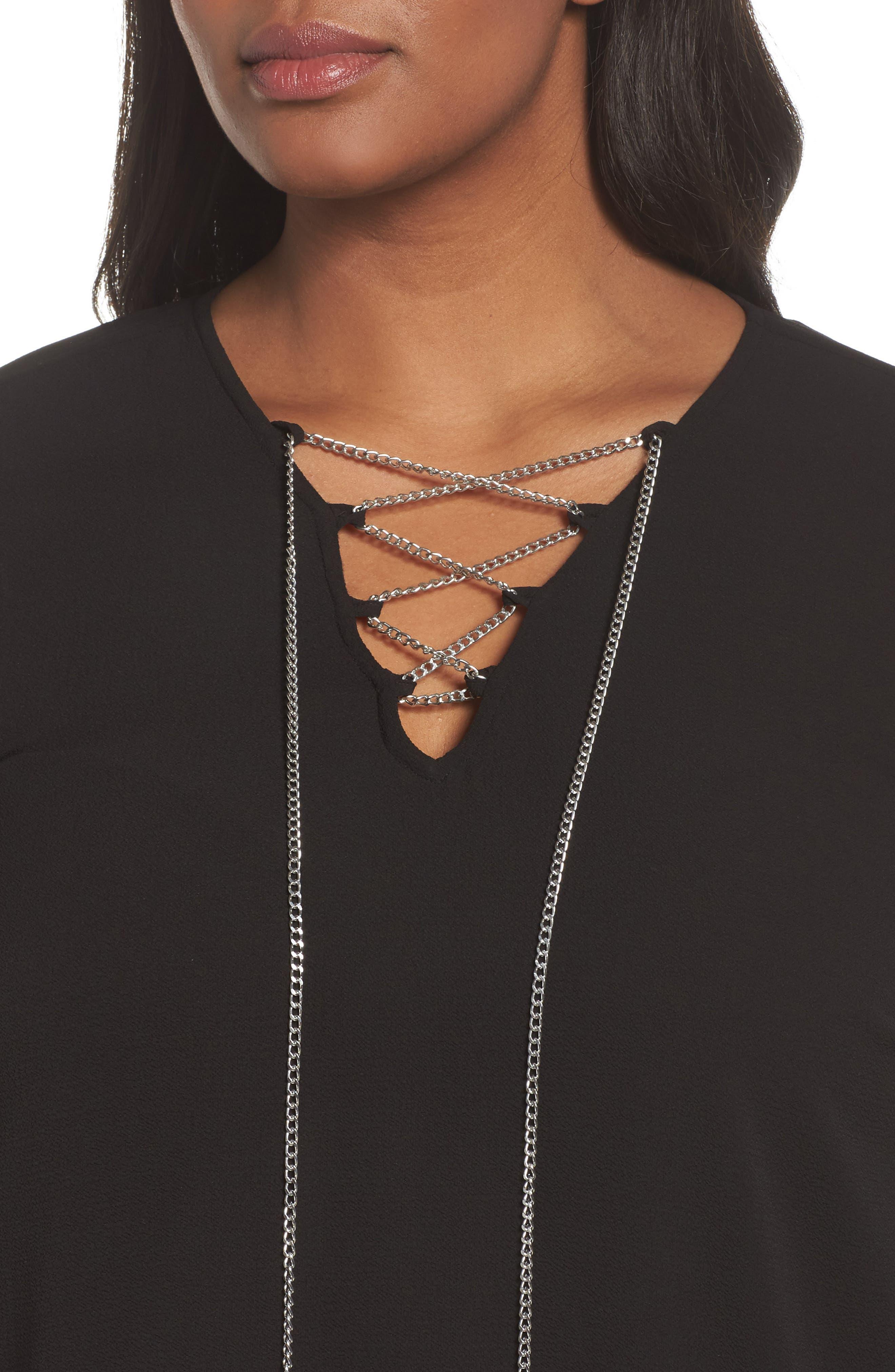 Alternate Image 4  - MICHAEL Michael Kors Chain Blouse (Plus Size)