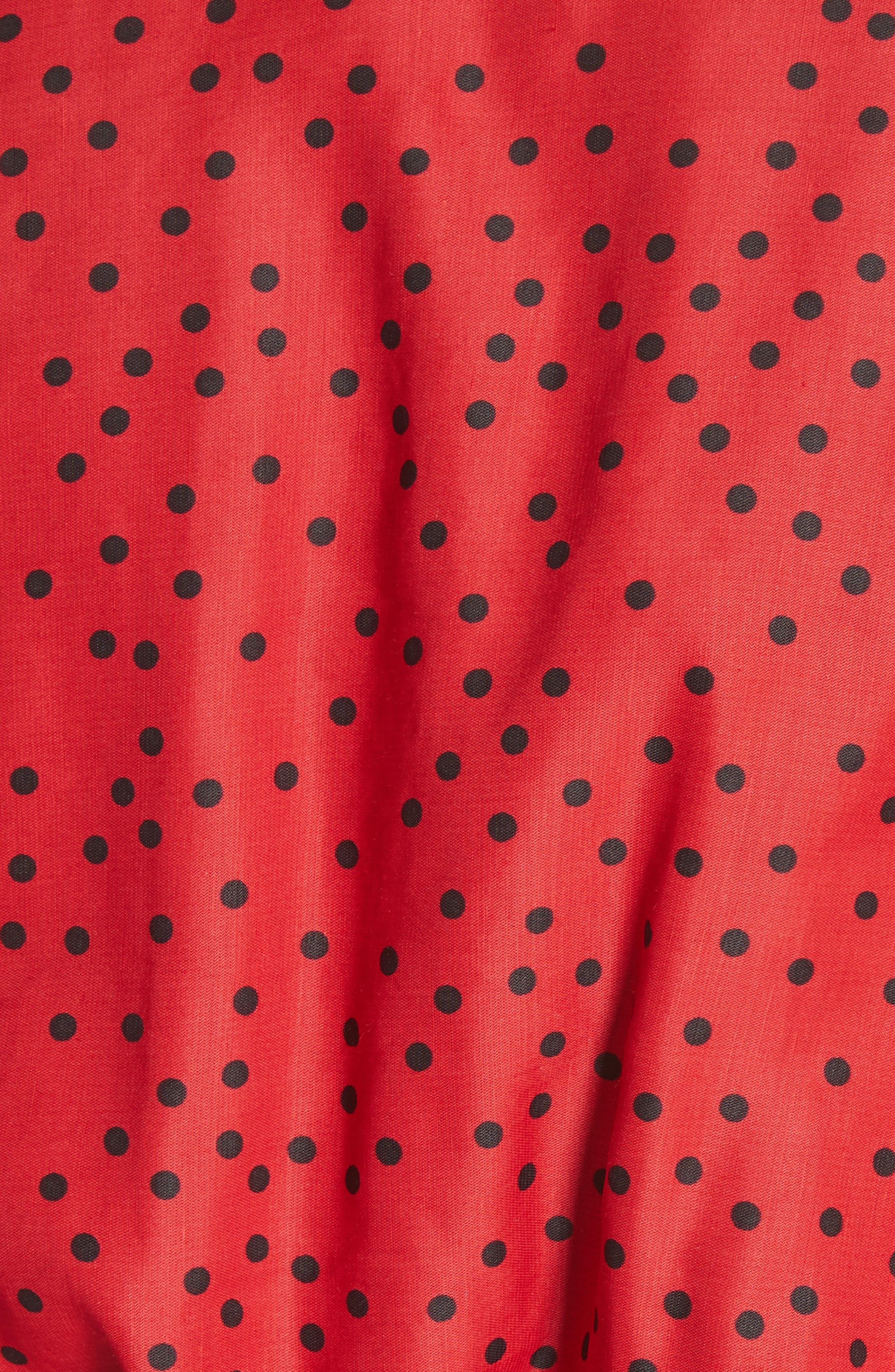 Polka Dot Linen Blend Minidress,                             Alternate thumbnail 6, color,                             Red