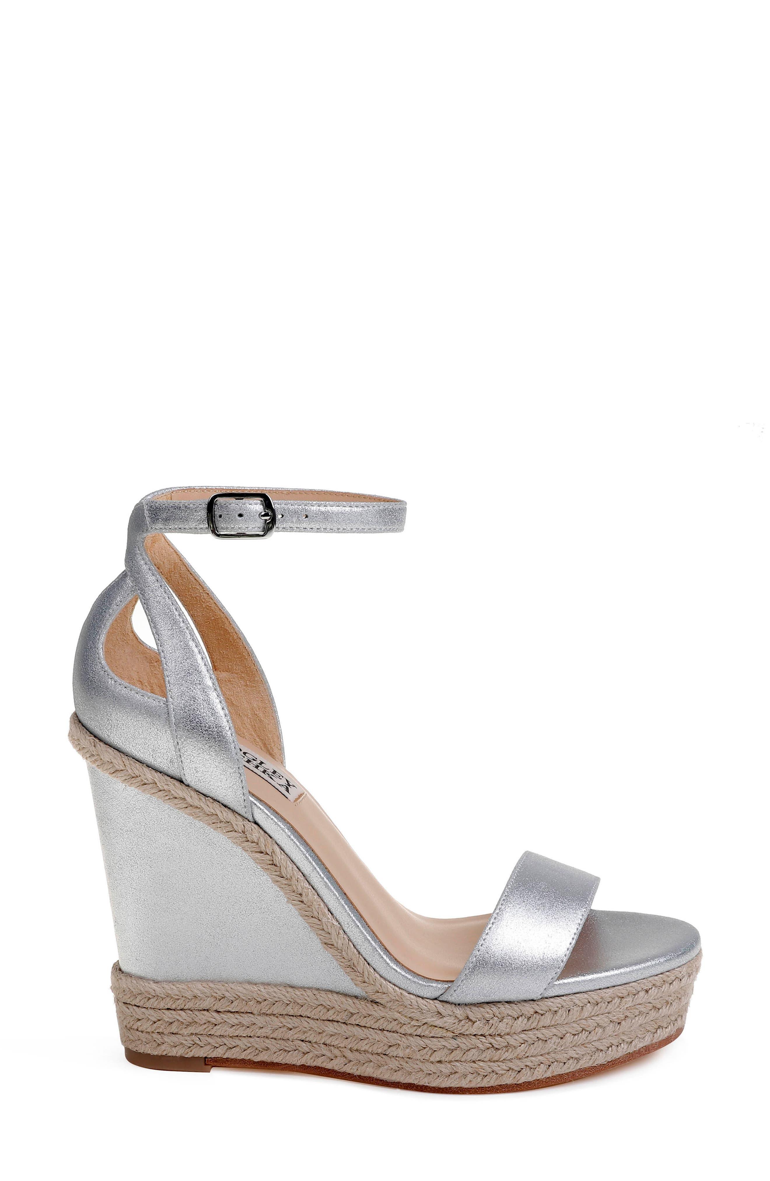 Honest Espadrille Wedge Sandal,                             Alternate thumbnail 3, color,                             Silver Metallic Suede