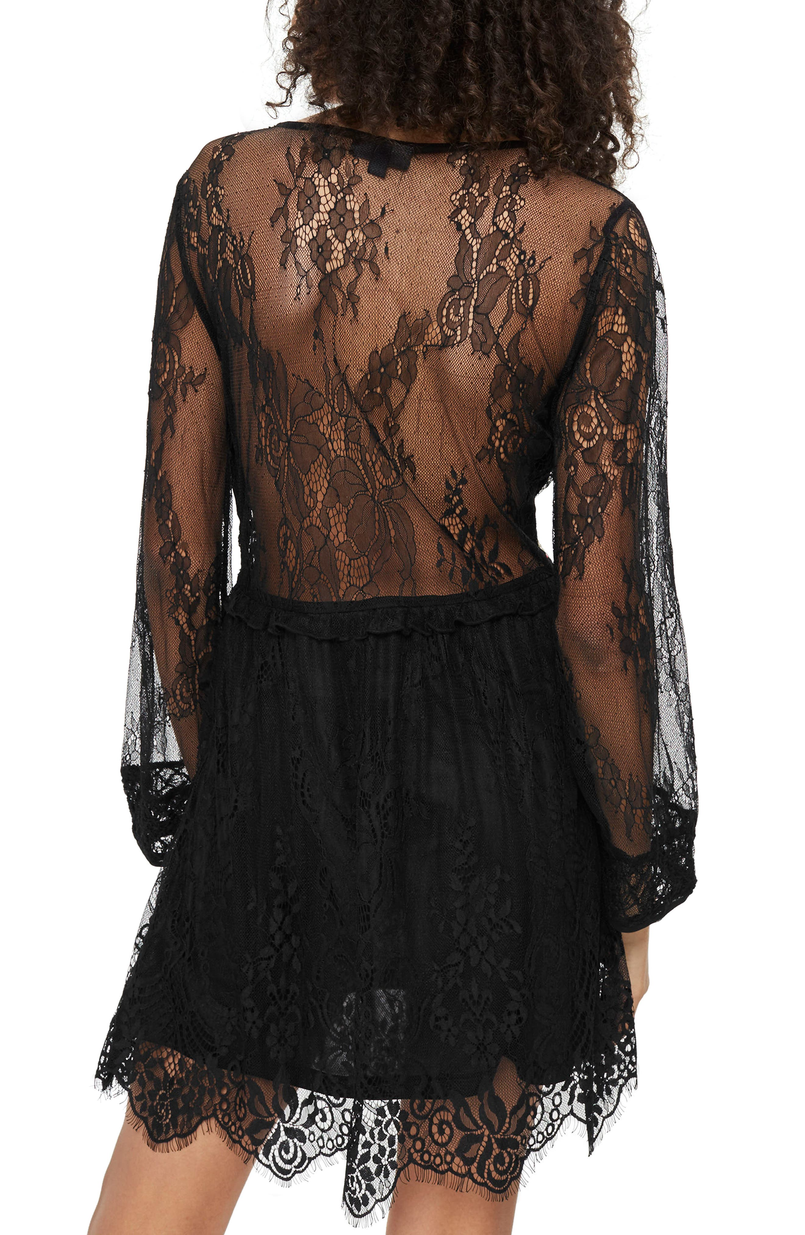 Embroidered Lace Dress,                             Alternate thumbnail 2, color,                             Black