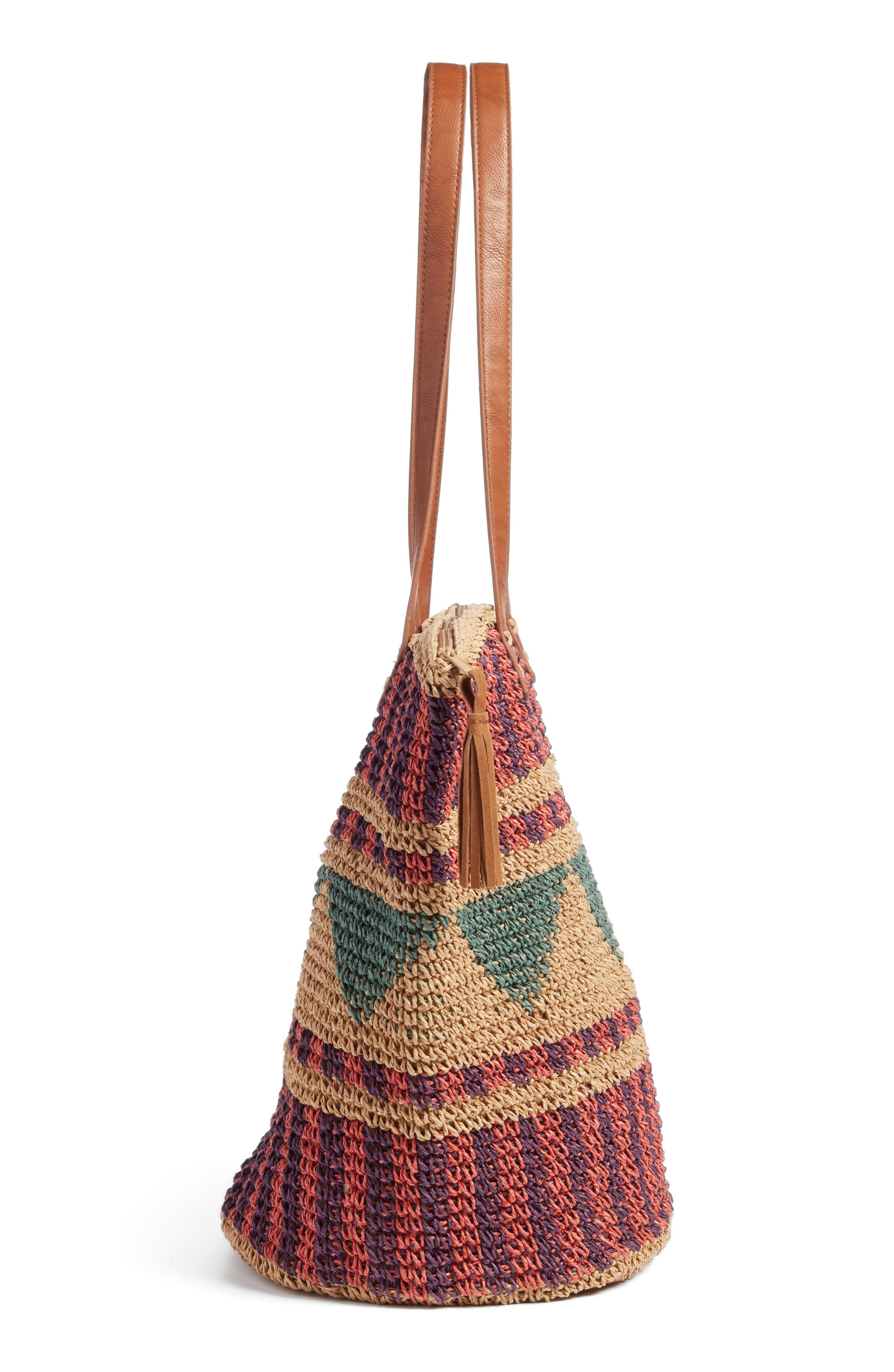 East of Dover Print Straw Tote,                             Alternate thumbnail 5, color,                             Rosewater
