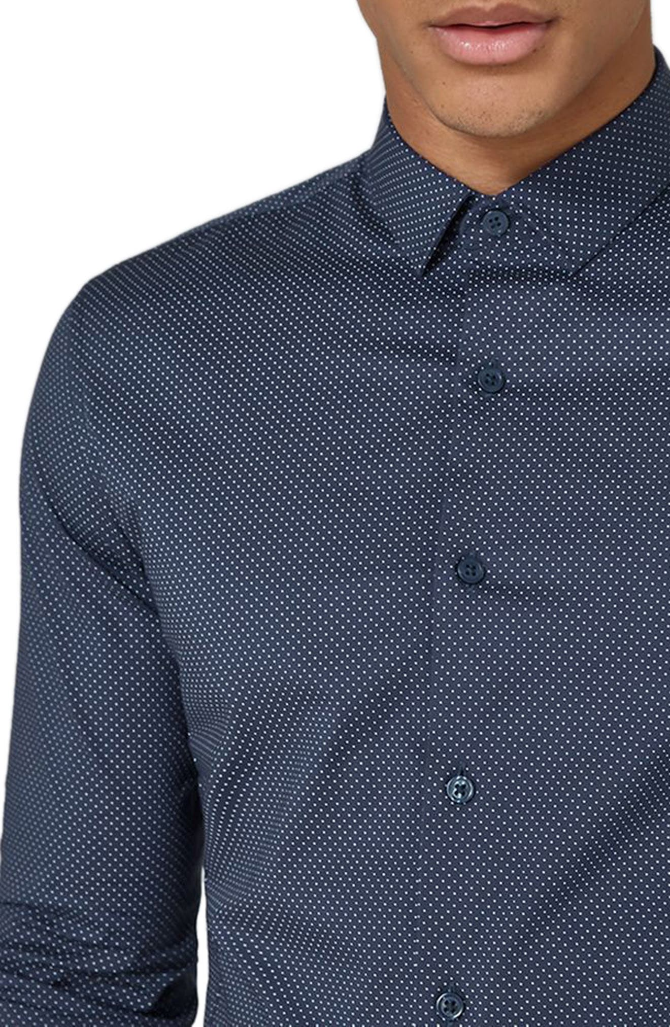 Polka Dot Stretch Smart Shirt,                             Alternate thumbnail 3, color,                             Navy Blue Multi