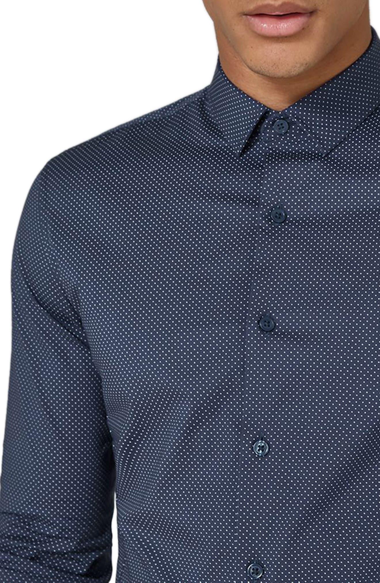 Alternate Image 3  - Topman Polka Dot Stretch Smart Shirt