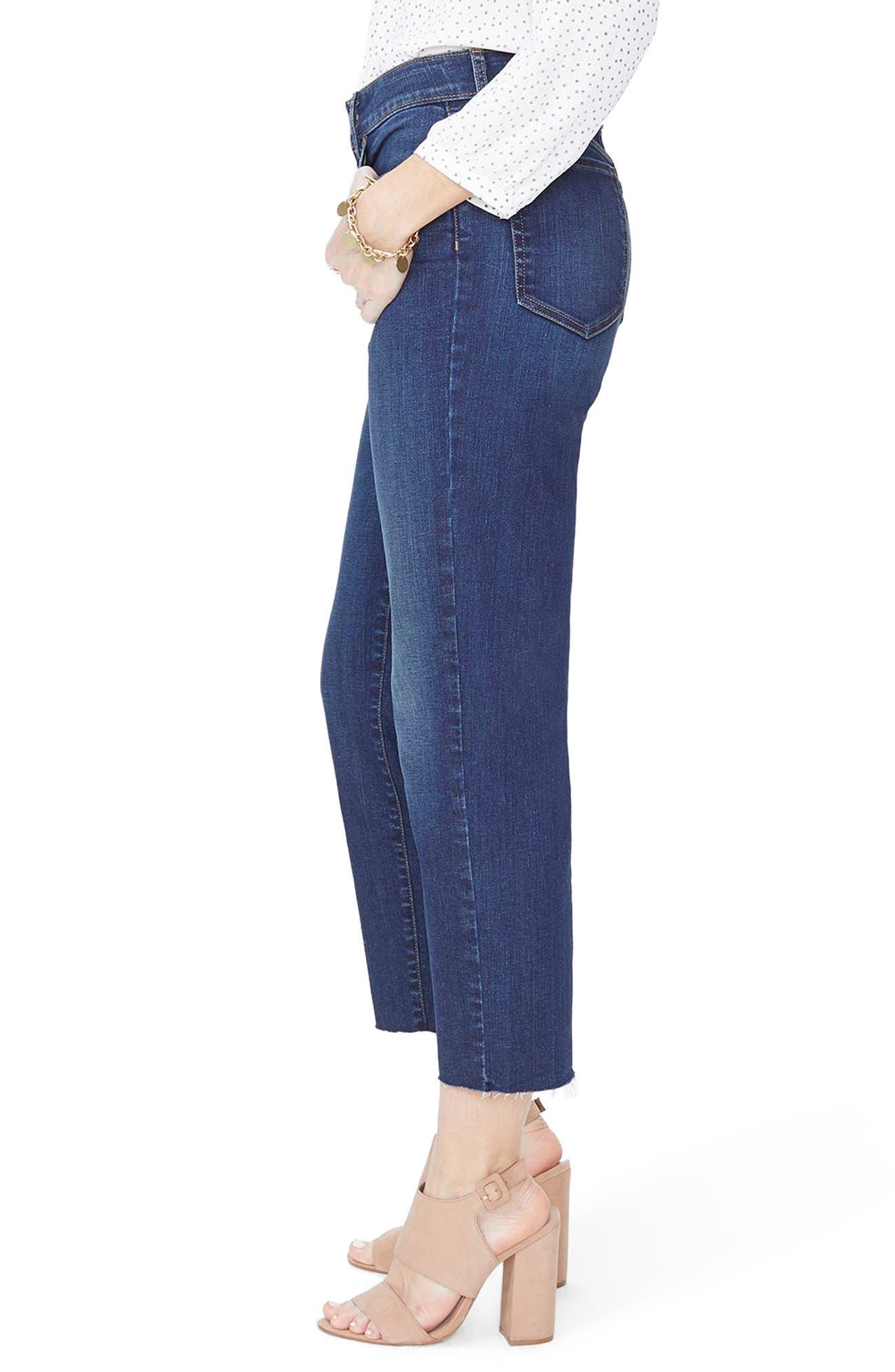Jenna Straight Leg Raw Hem Ankle Jeans,                             Alternate thumbnail 3, color,                             Bezel