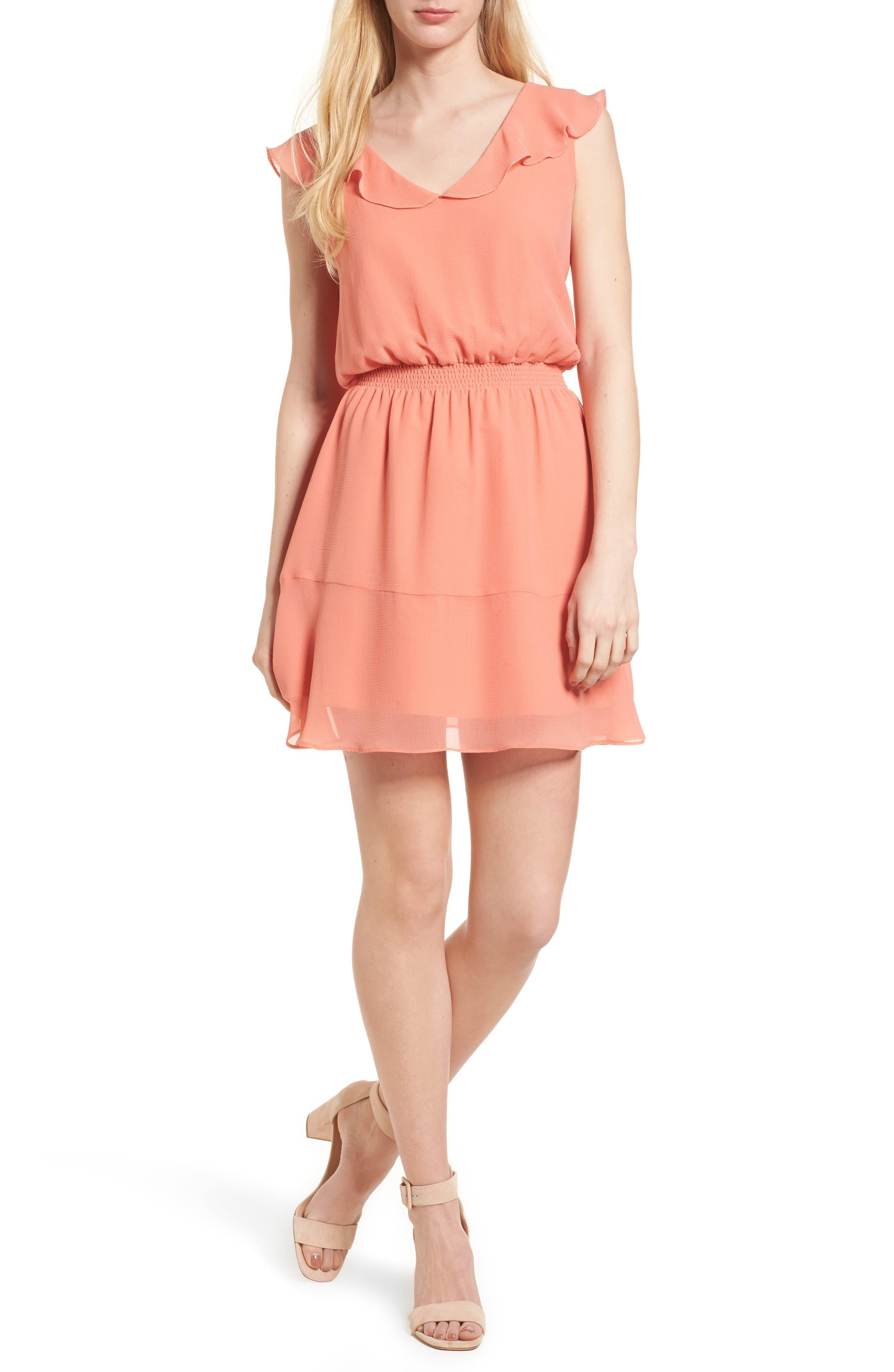 Iniko Blouson Dress,                             Main thumbnail 1, color,                             Spring Coral