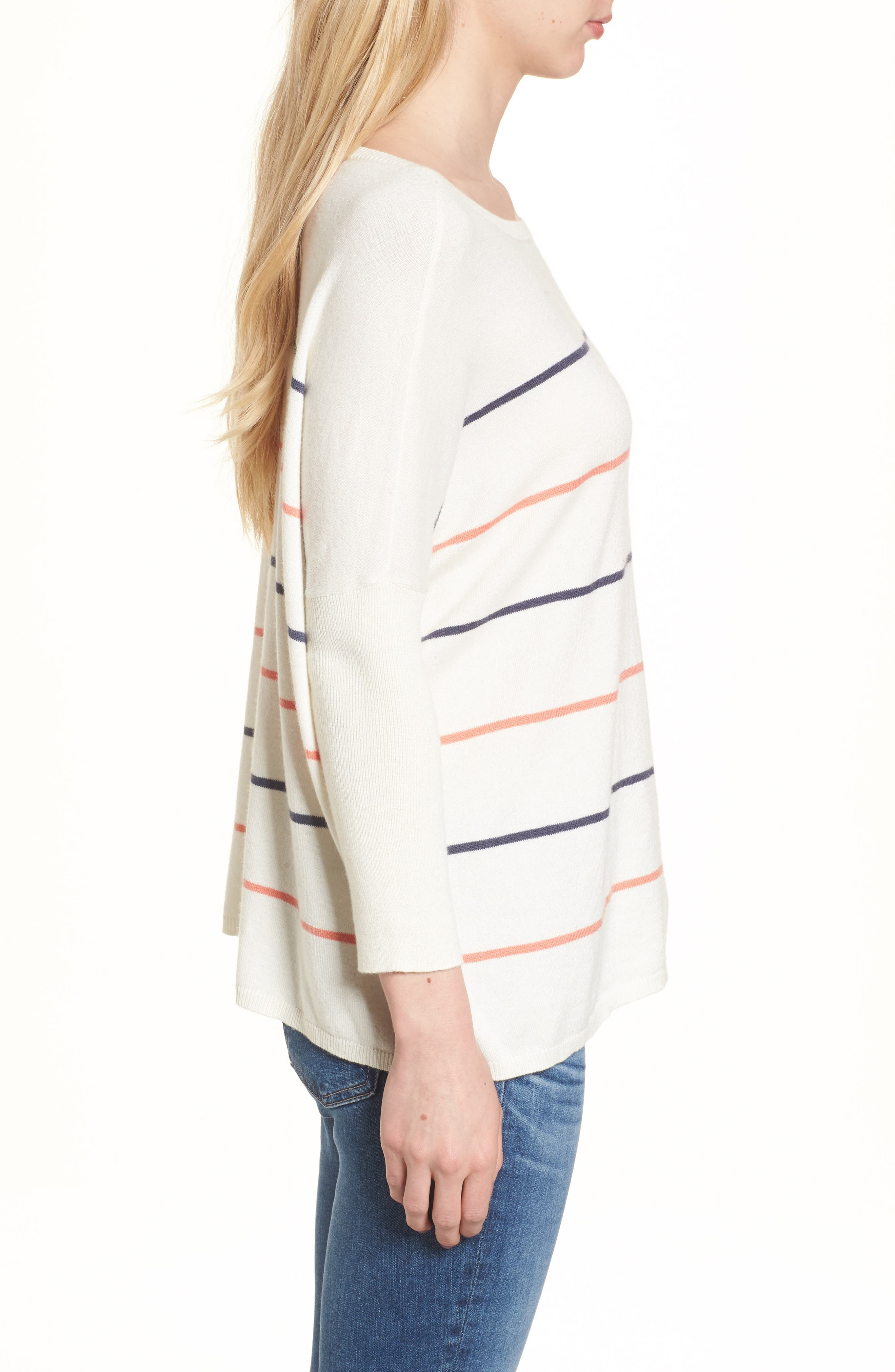 Cascada Stripe Sweater,                             Alternate thumbnail 3, color,                             Ivory