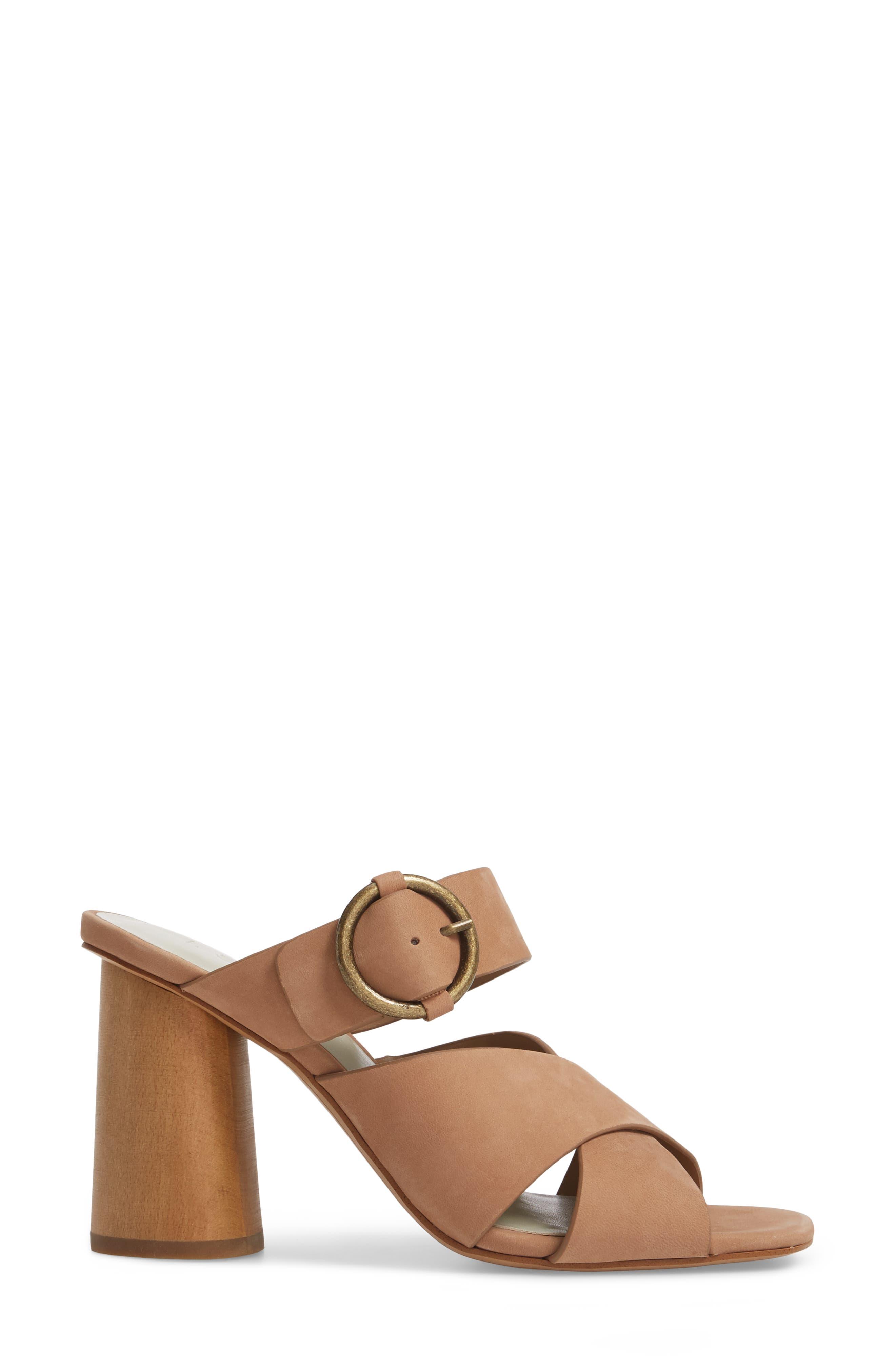 Icendra Flared Heel Mule Sandal,                             Alternate thumbnail 3, color,                             Teak Leather