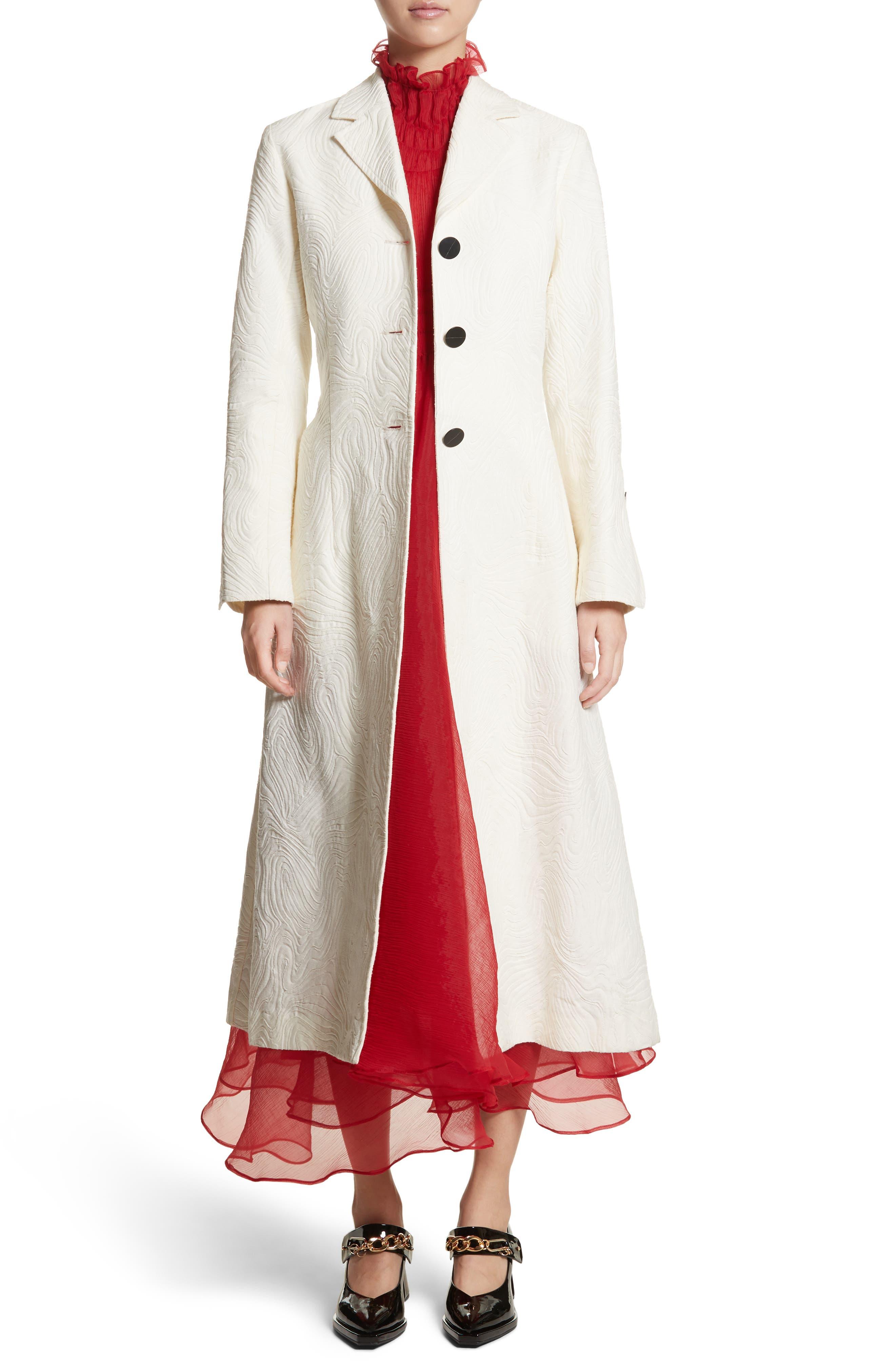 Rhodes Swirl Jacquard Trench Coat,                             Alternate thumbnail 8, color,                             Off White
