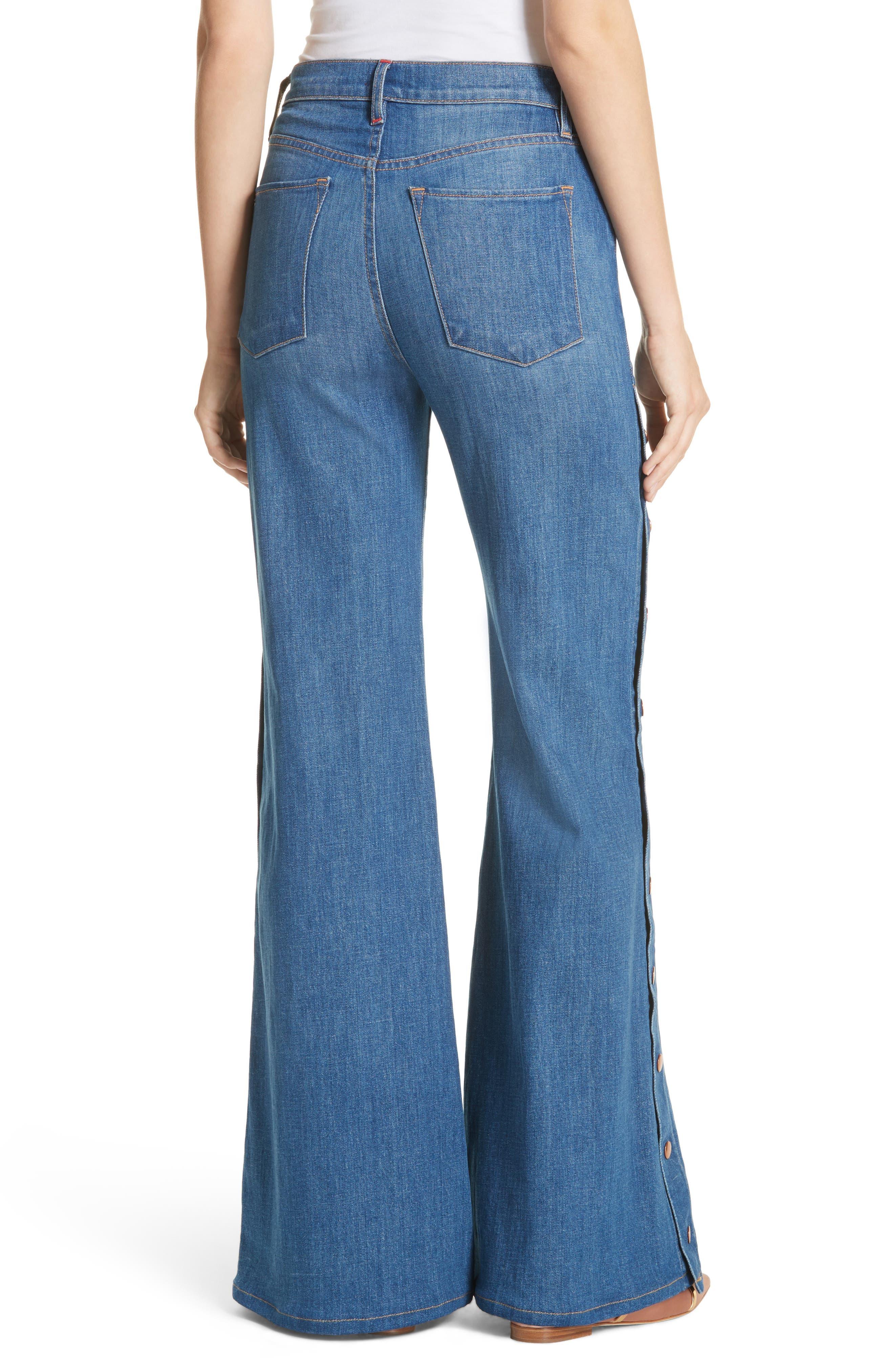 AO.LA Gorgeous Snap Side Flare Leg Jeans,                             Alternate thumbnail 2, color,                             French Blue