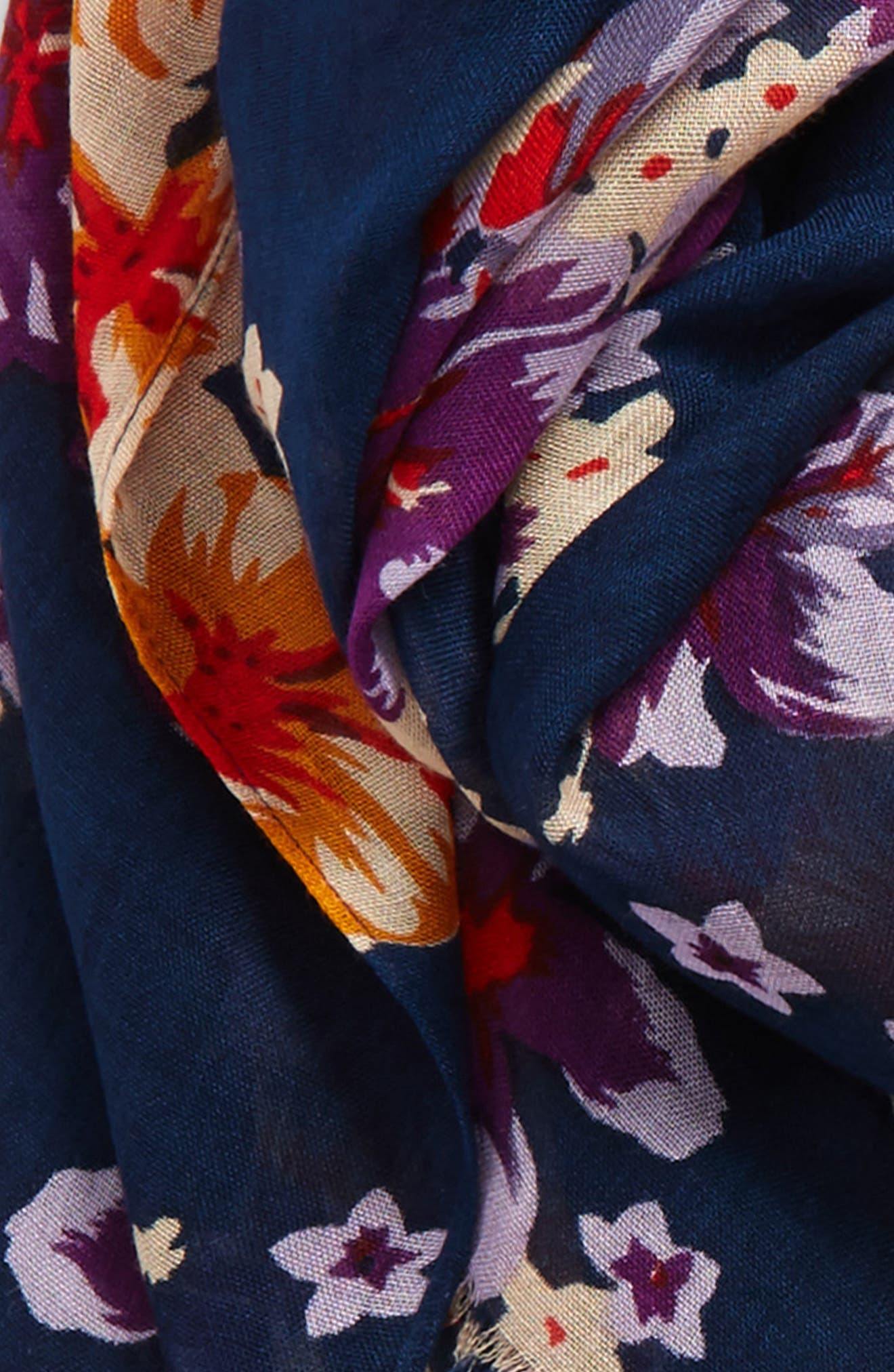 Tropical Print Scarf,                             Alternate thumbnail 3, color,                             Navy Multi
