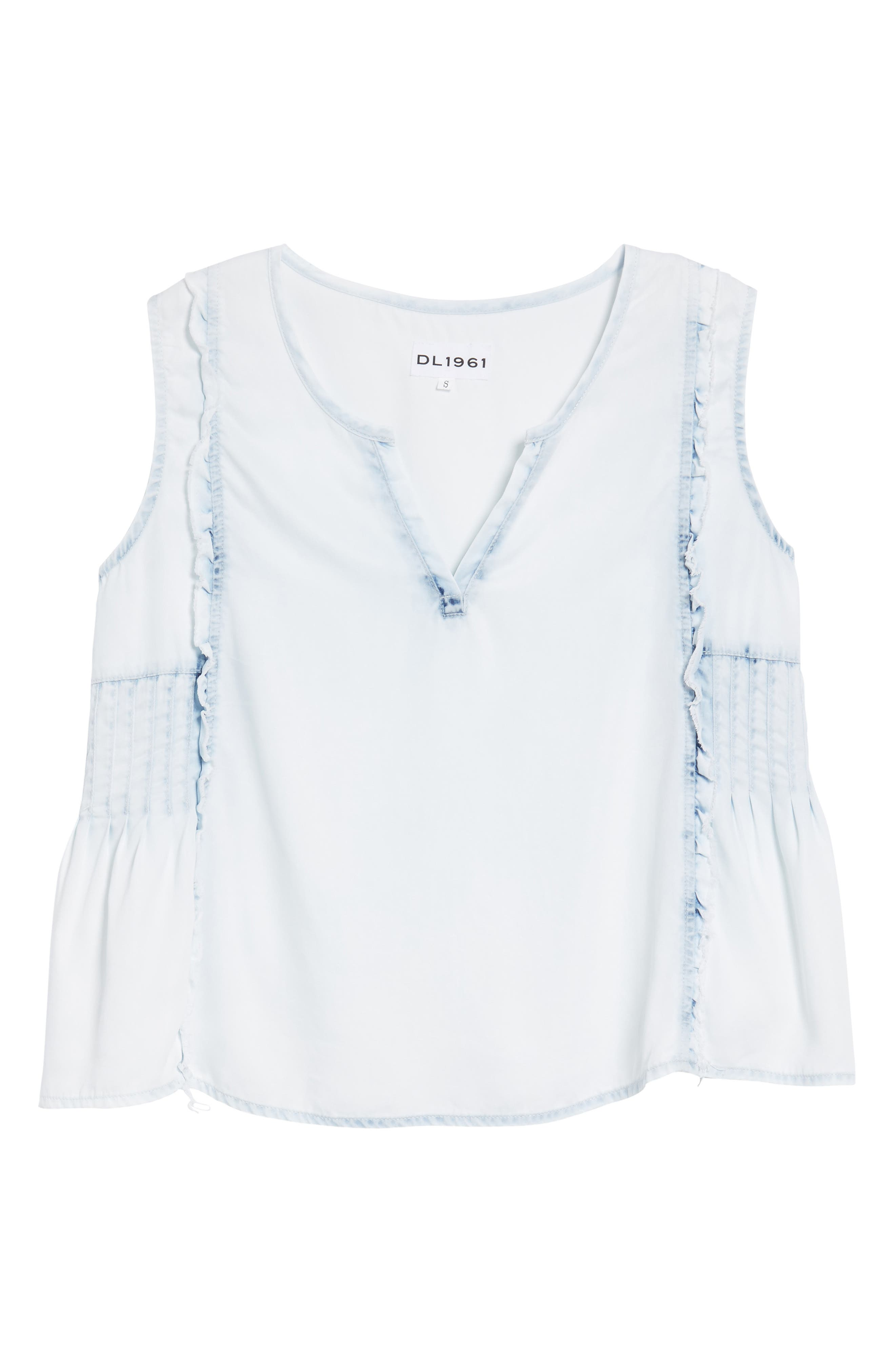 Mulberry St Chambray Top,                             Alternate thumbnail 6, color,                             Irregular Bleach