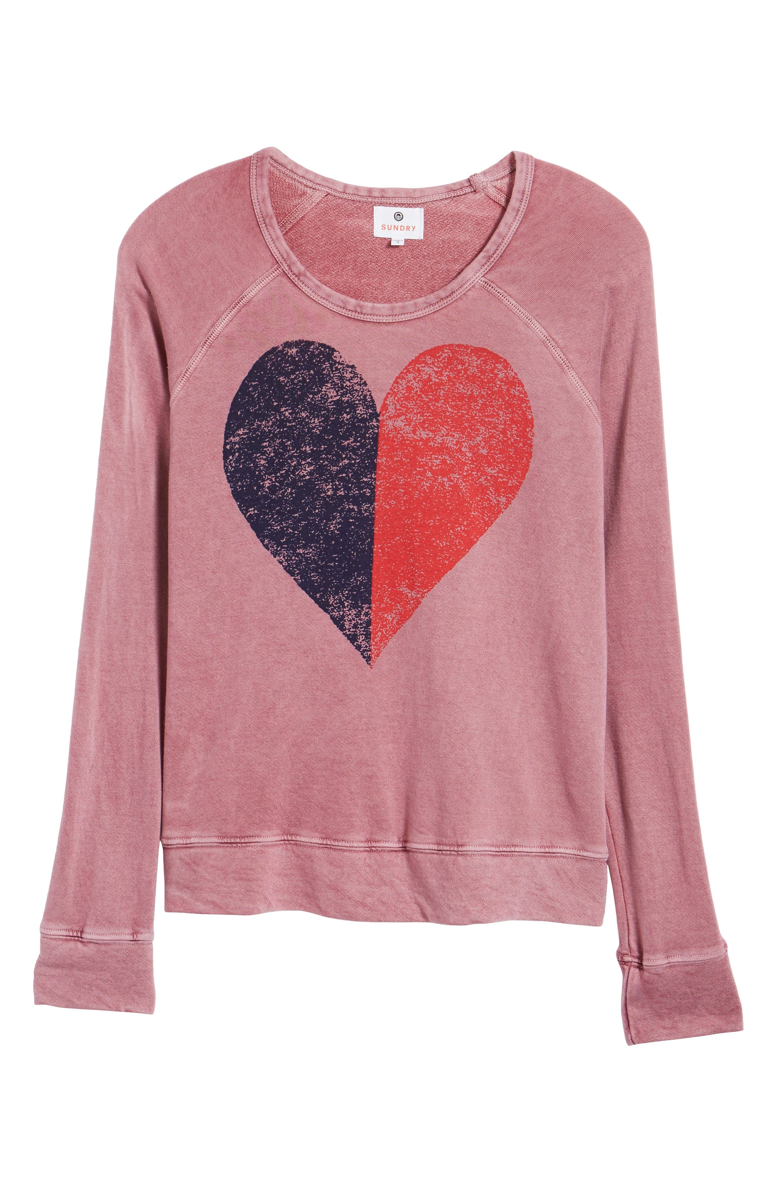 Alternate Image 6  - Sundry Split Heart Terry Sweatshirt