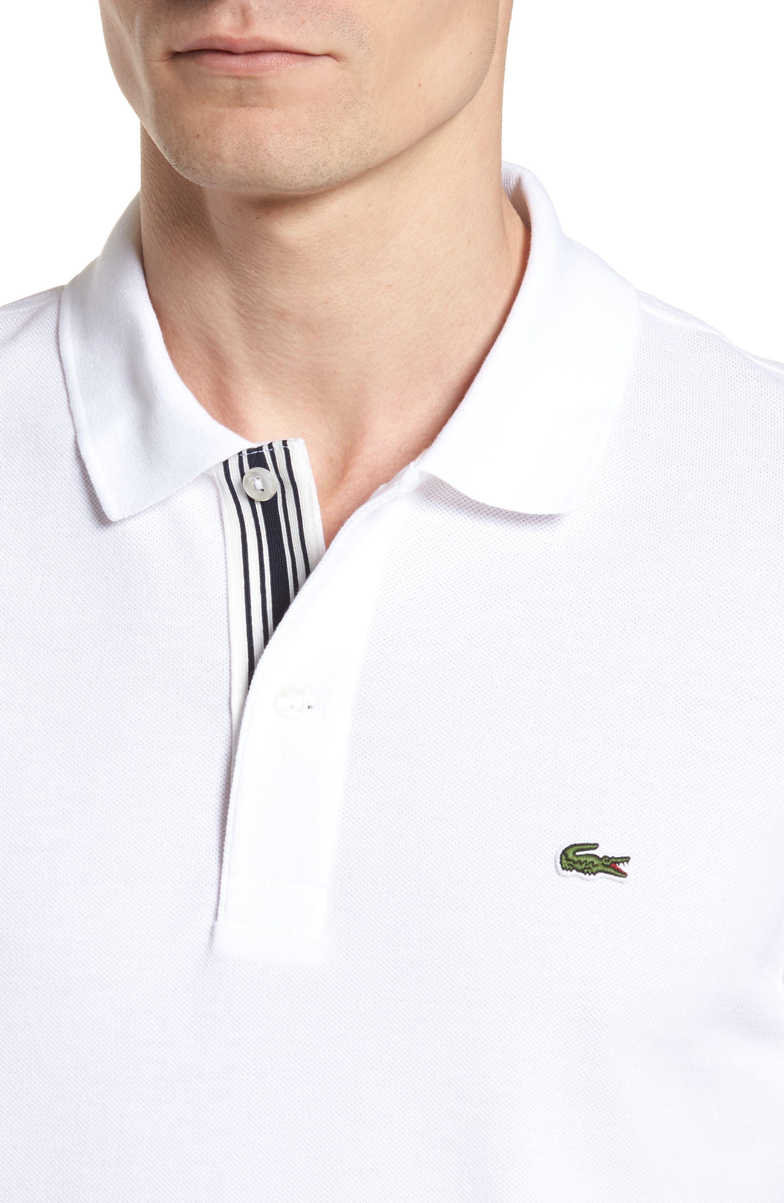 Slim Fit Stripe Sleeve Cotton Polo,                             Alternate thumbnail 4, color,                             White