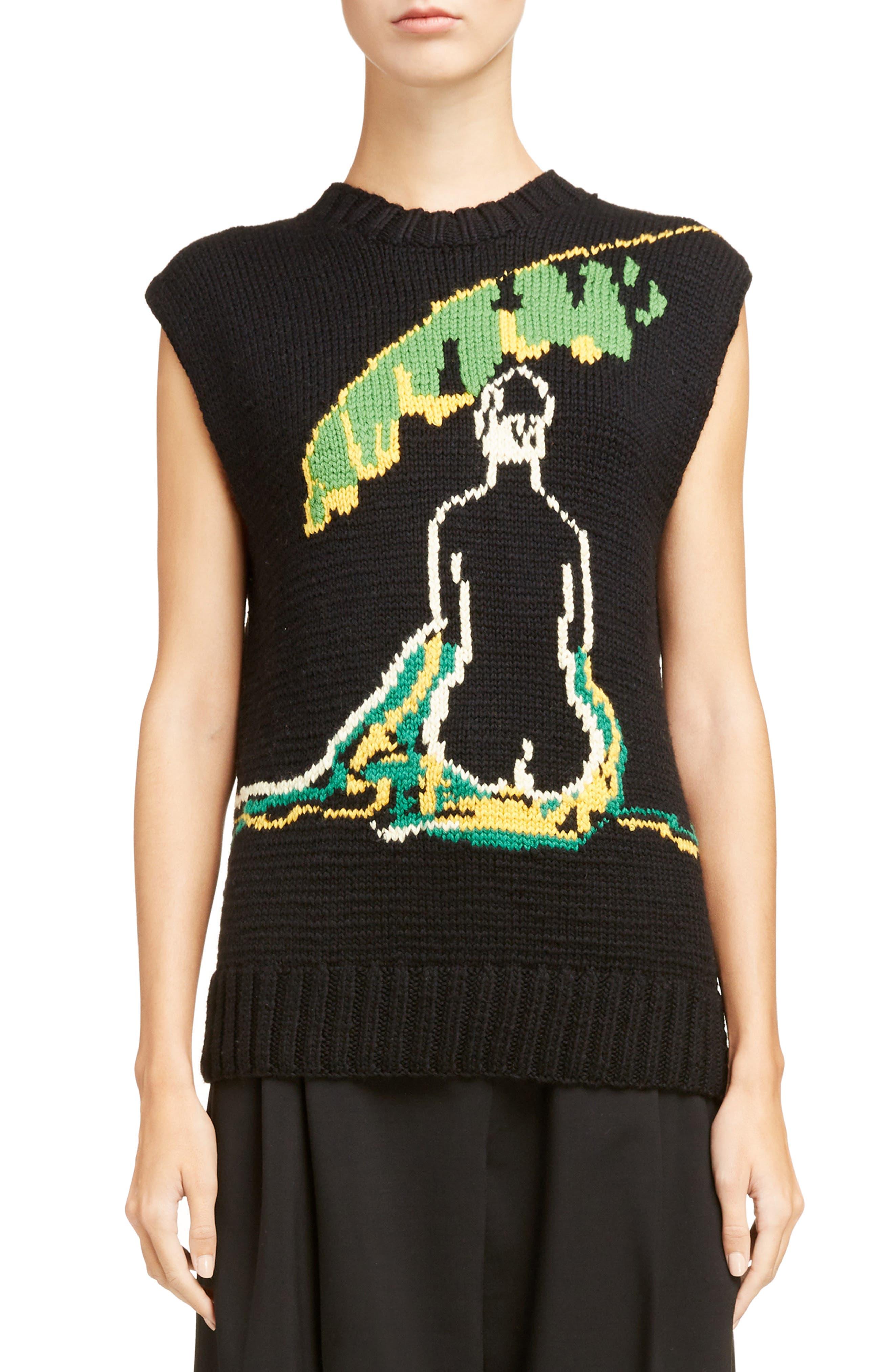 Palm Lady Sweater Tank,                             Main thumbnail 1, color,                             Black