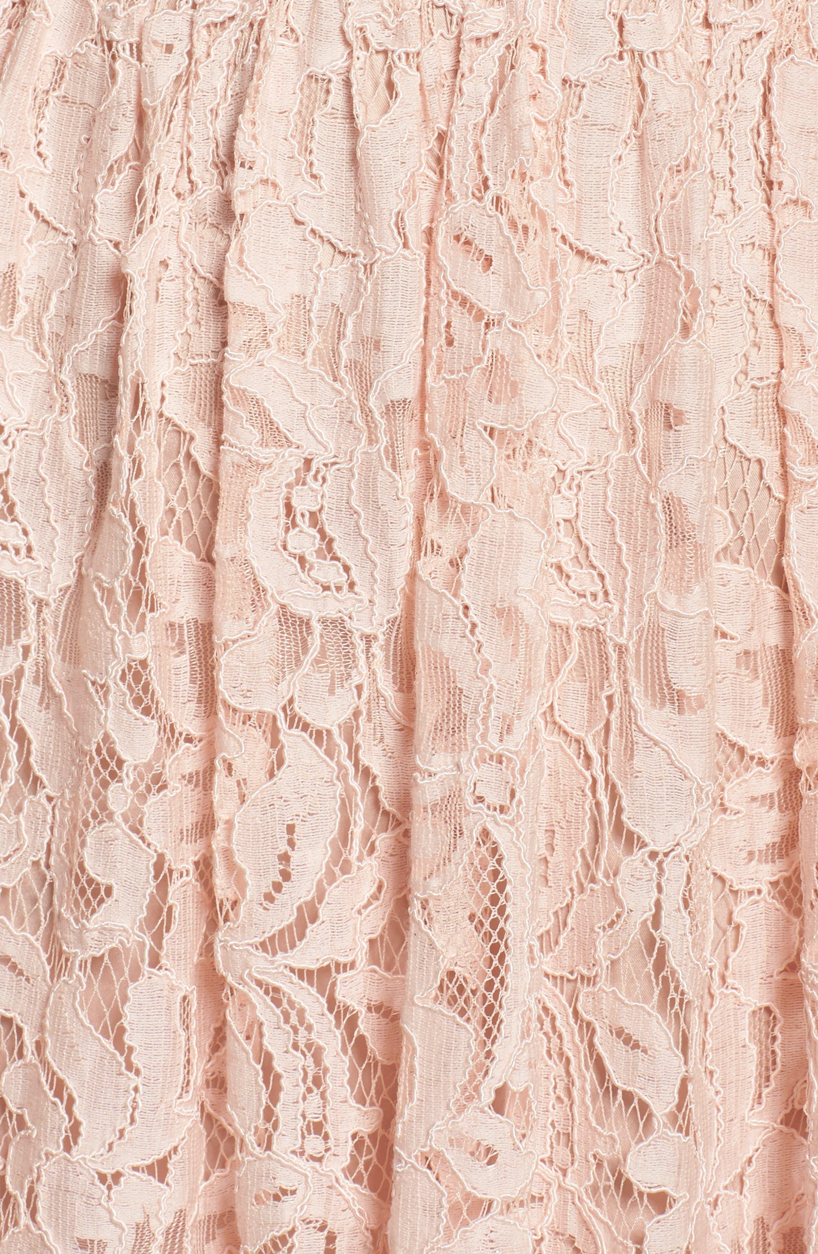 Lace Fit & Flare Dress,                             Alternate thumbnail 5, color,                             Peach