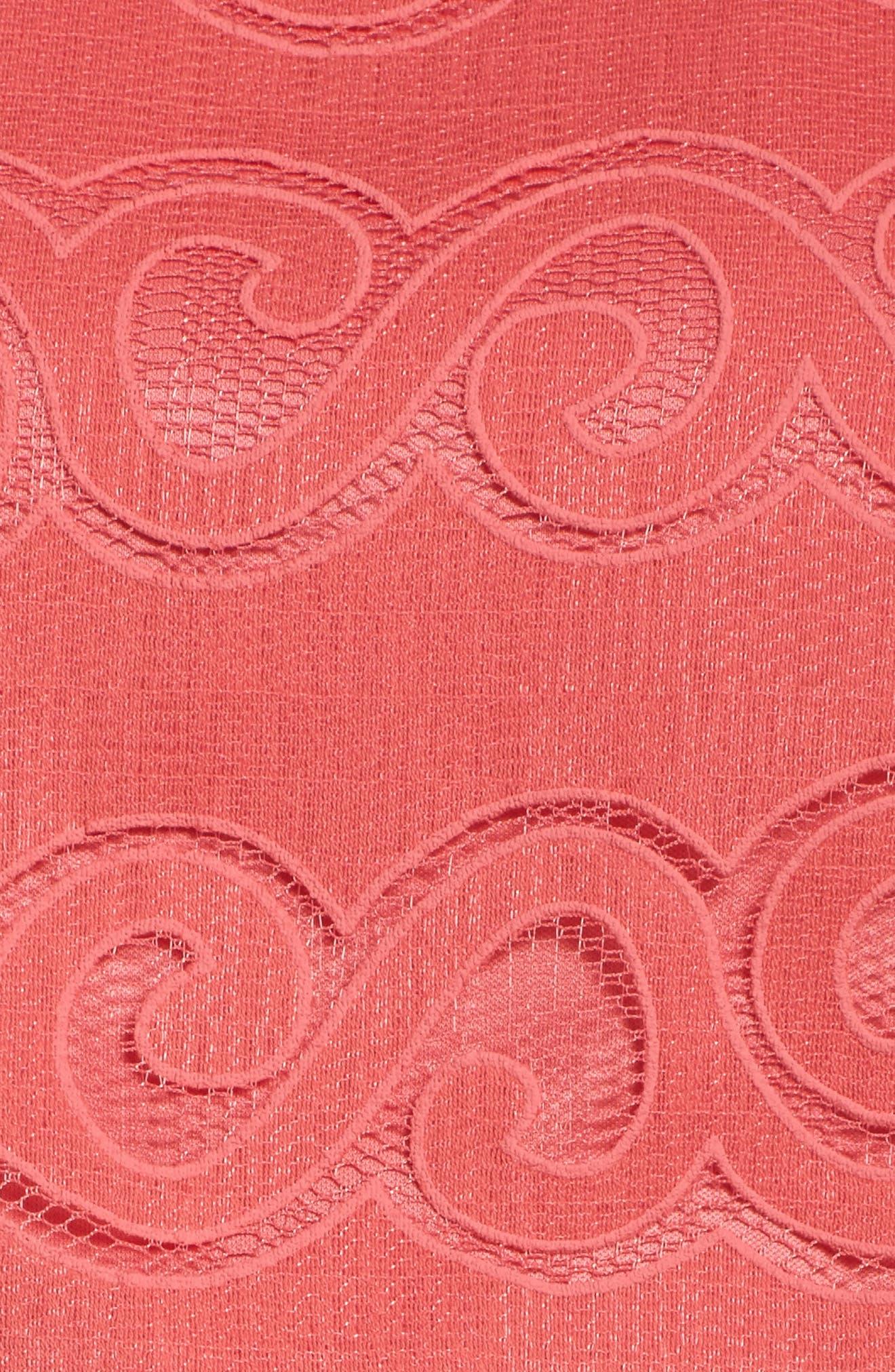 Sleeveless Scallop Hem Sheath Dress,                             Alternate thumbnail 5, color,                             Coral