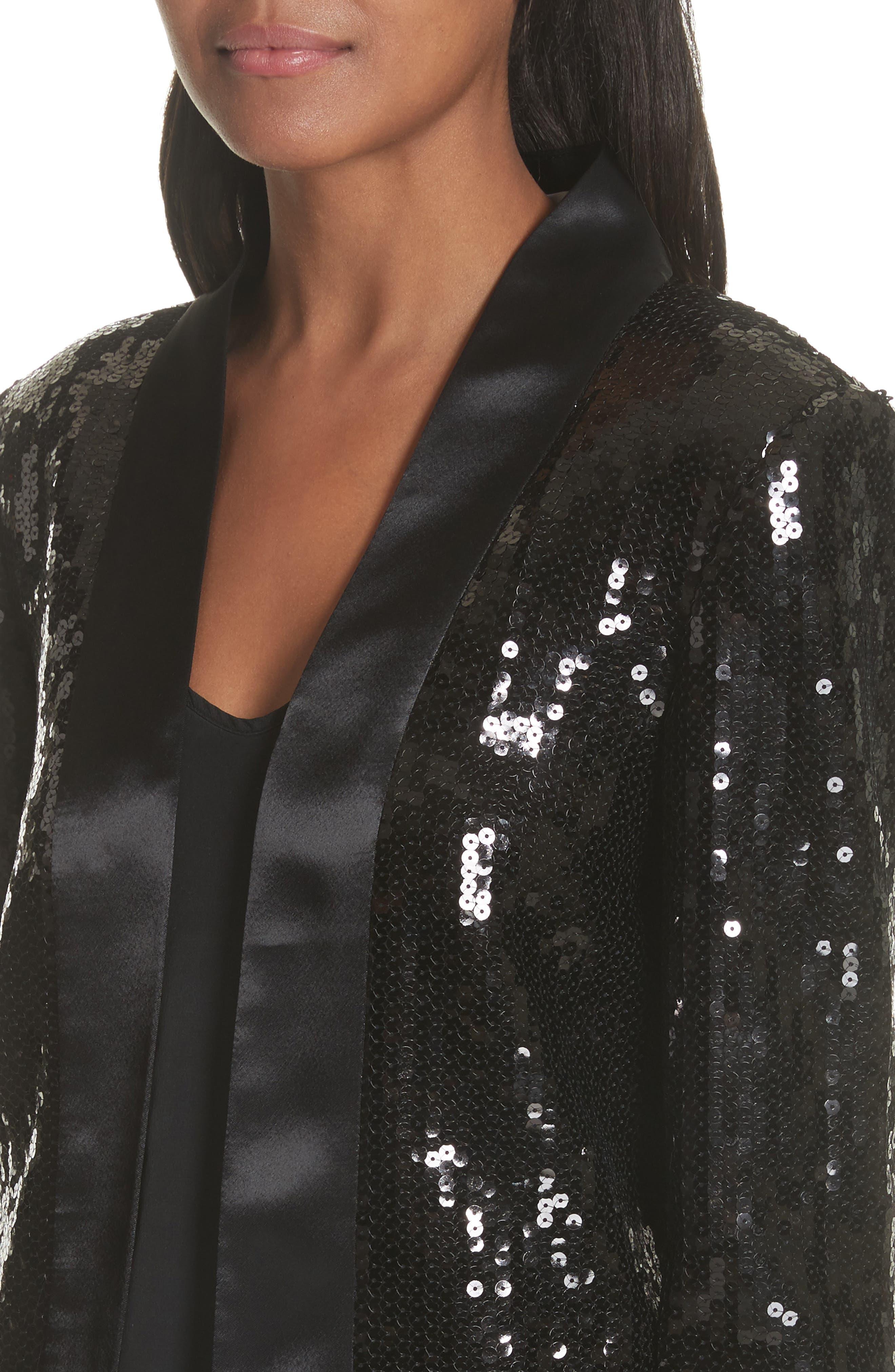 Sequin Tuxedo Jacket,                             Alternate thumbnail 4, color,                             Black