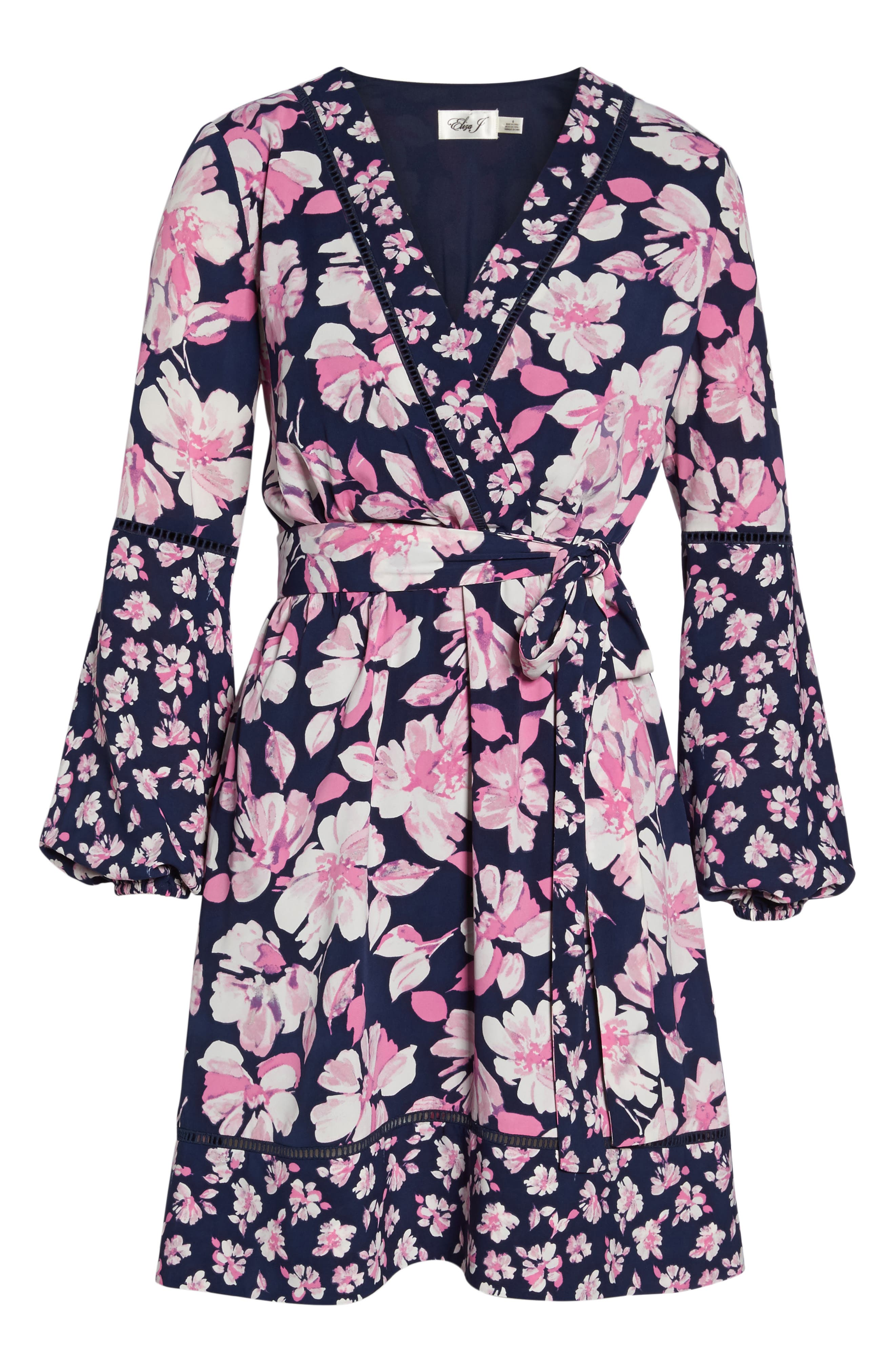 Print Faux Wrap Dress,                             Alternate thumbnail 6, color,                             Navy/ Pink