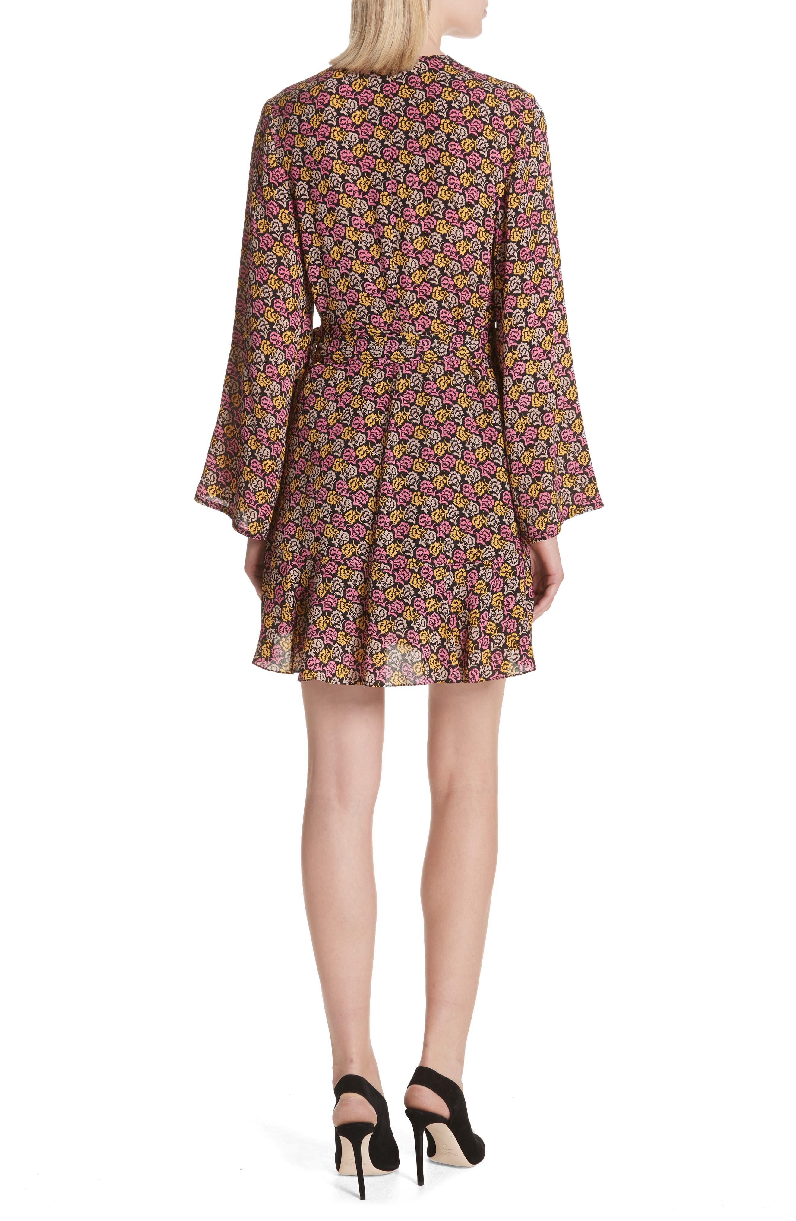 Whitney Bell Sleeve Silk Wrap Dress,                             Alternate thumbnail 2, color,                             Pink Multi