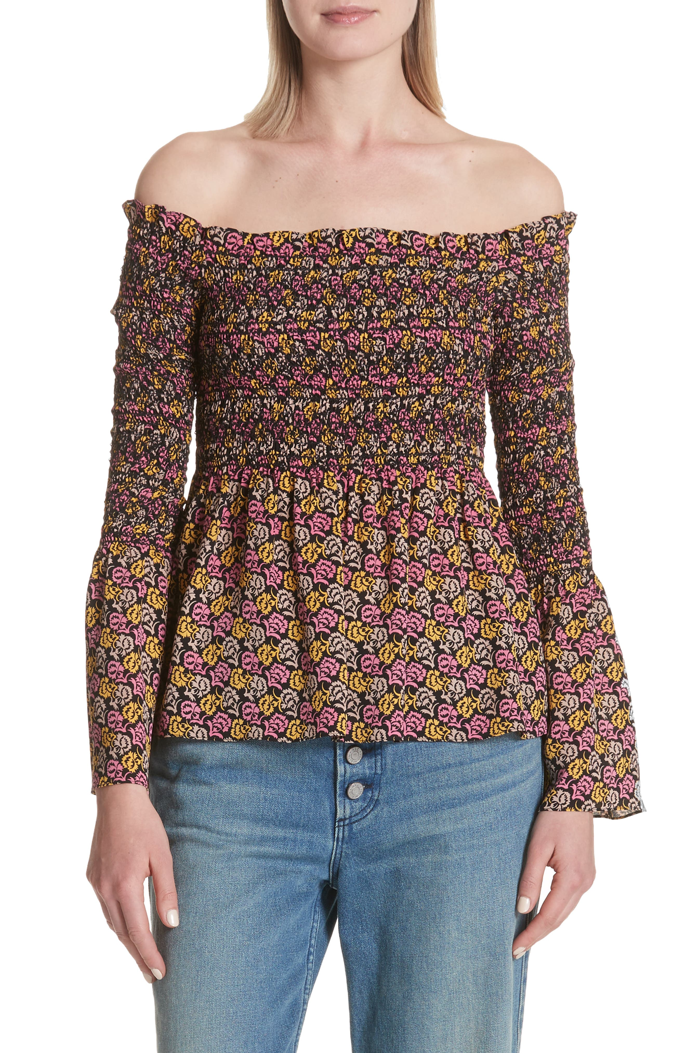 Agra Off the Shoulder Bell Sleeve Silk Top,                             Main thumbnail 1, color,                             Pink Multi